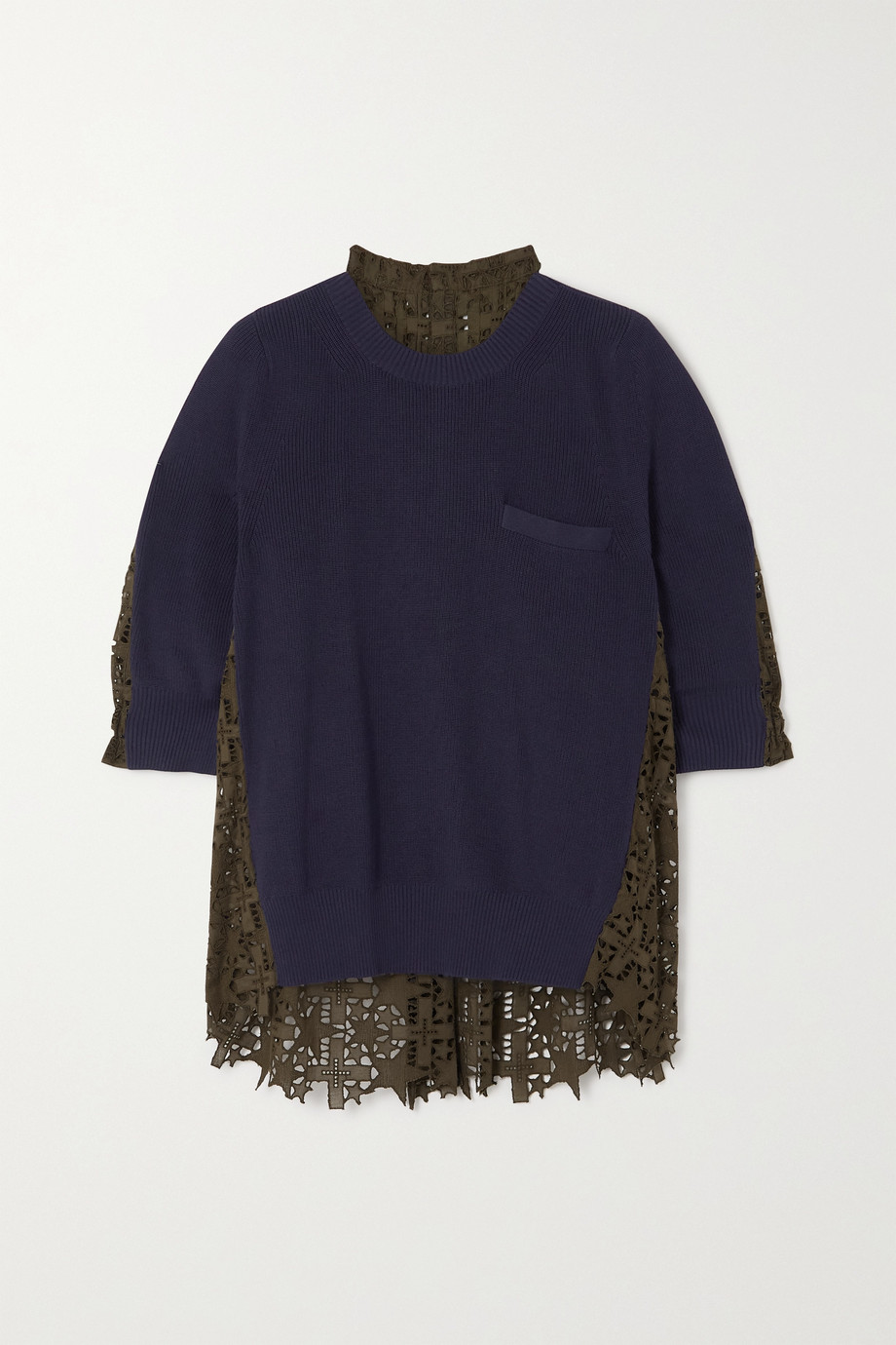 SACAI Paneled broderie anglaise and ribbed cotton sweater