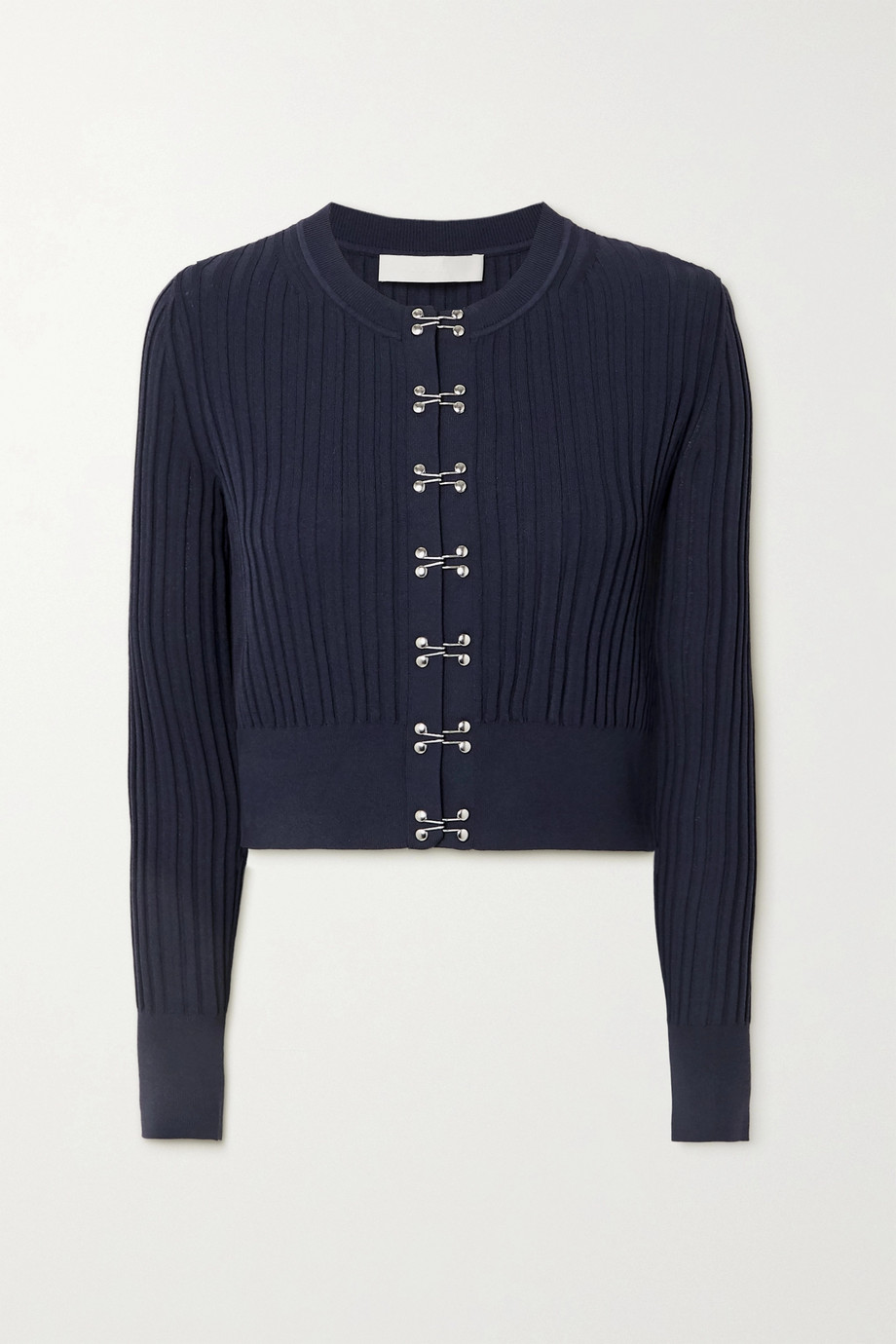 DION LEE Cropped ribbed-knit cardigan