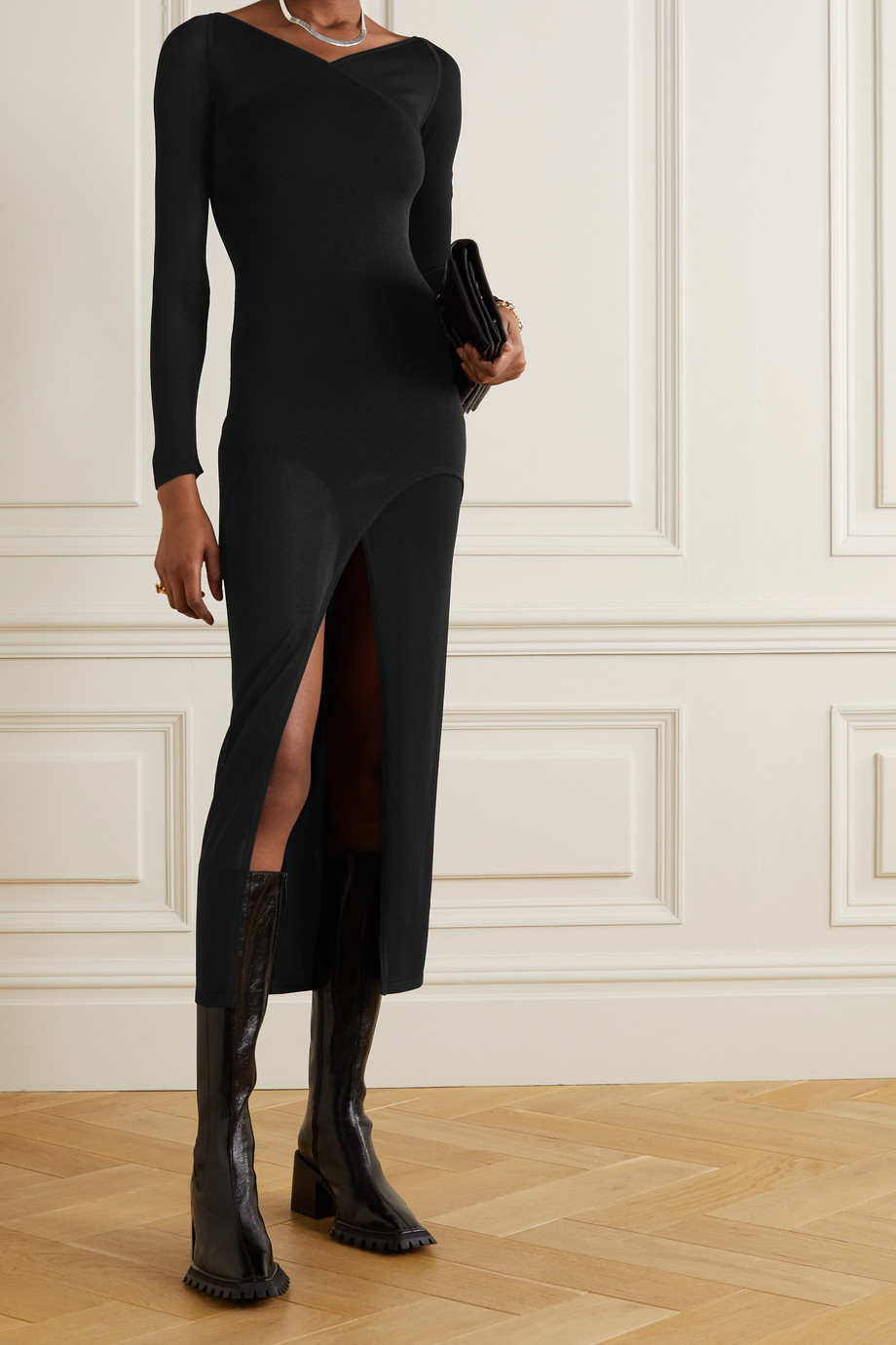 DION LEE Shadow Inverse layered asymmetric jersey midi dress