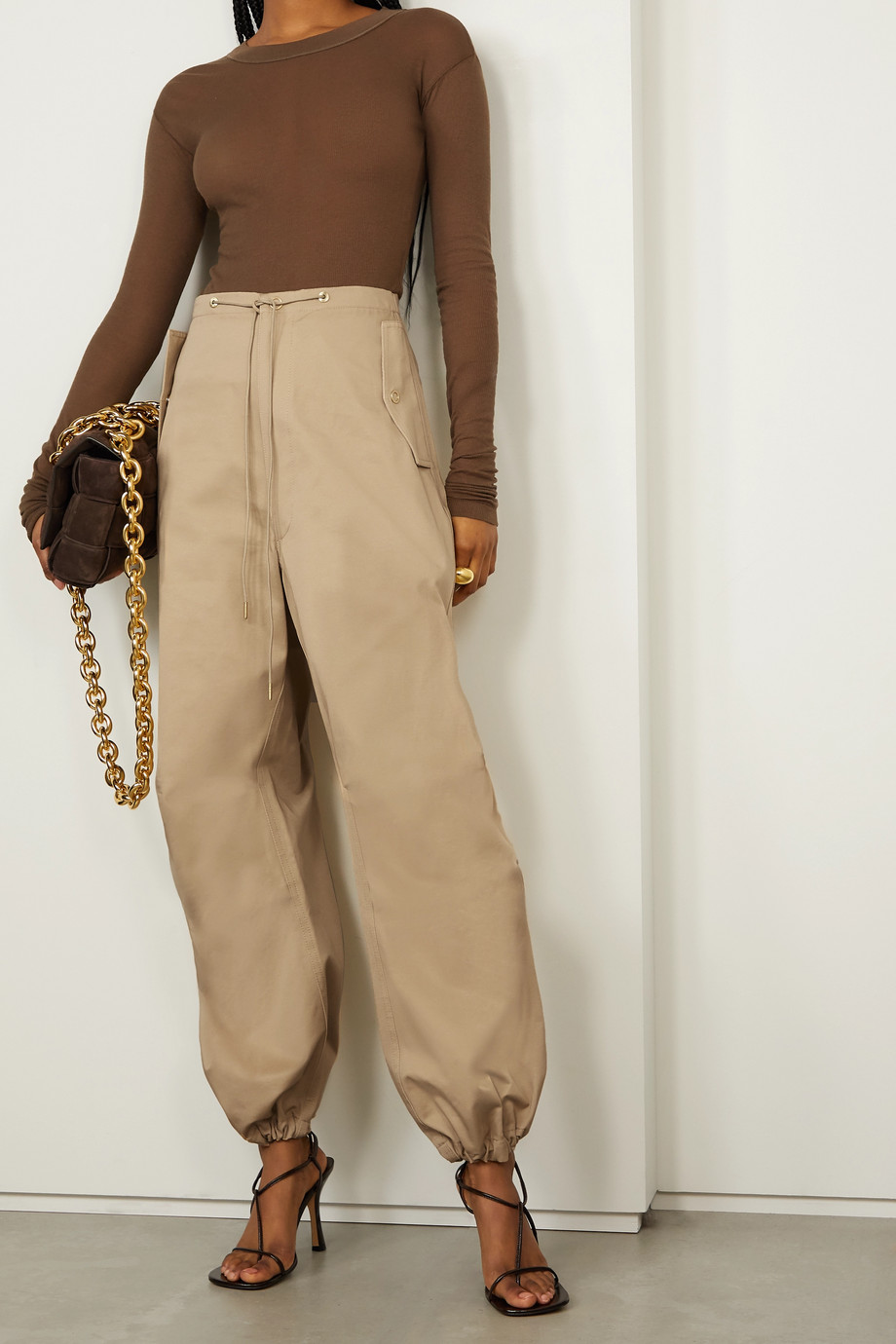DION LEE Cotton-twill tapered pants