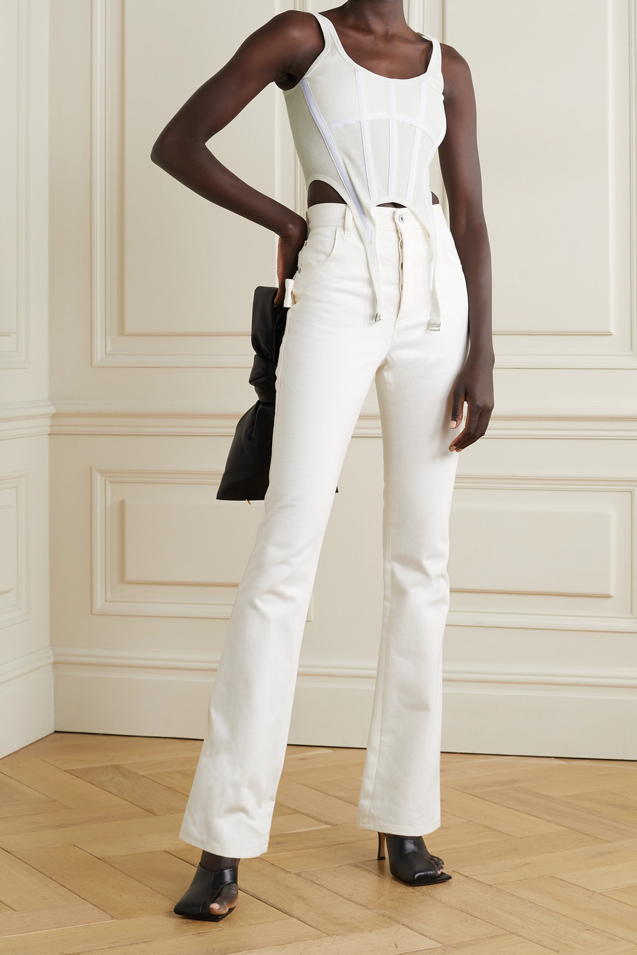 DION LEE Ribbed cotton-jersey bustier top