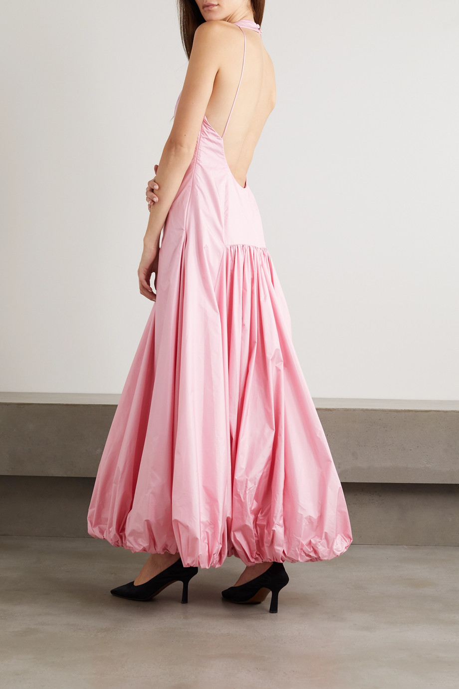 RENAISSANCE RENAISSANCE Juliet open-back ruched silk-taffeta maxi dress