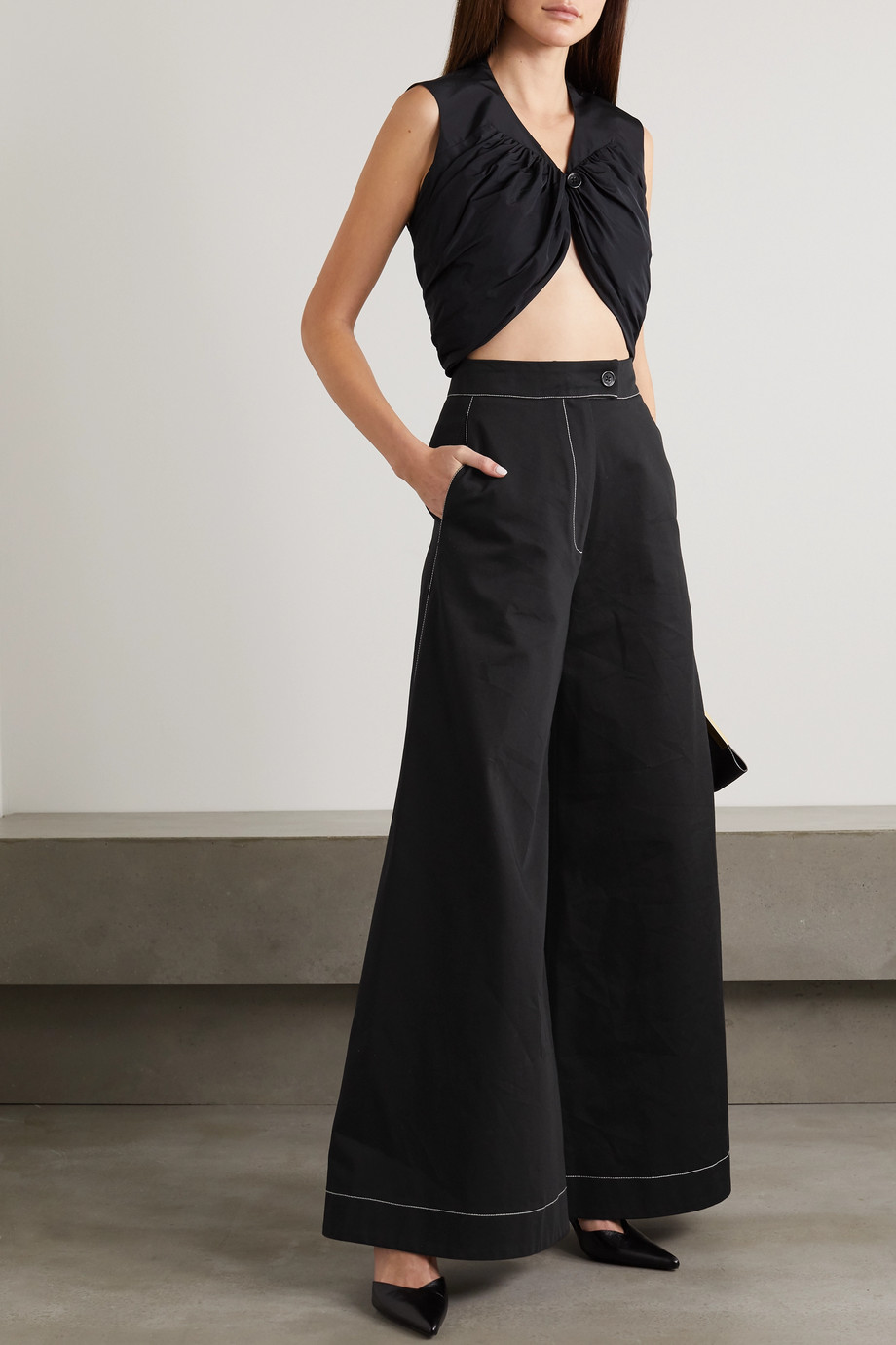 RENAISSANCE RENAISSANCE Louis topstitched cotton-twill wide-leg pants