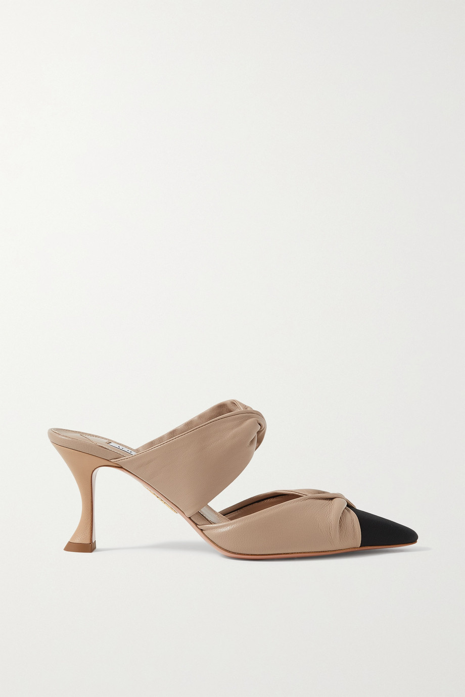 AQUAZZURA Twist 75 faille-trimmed leather mules