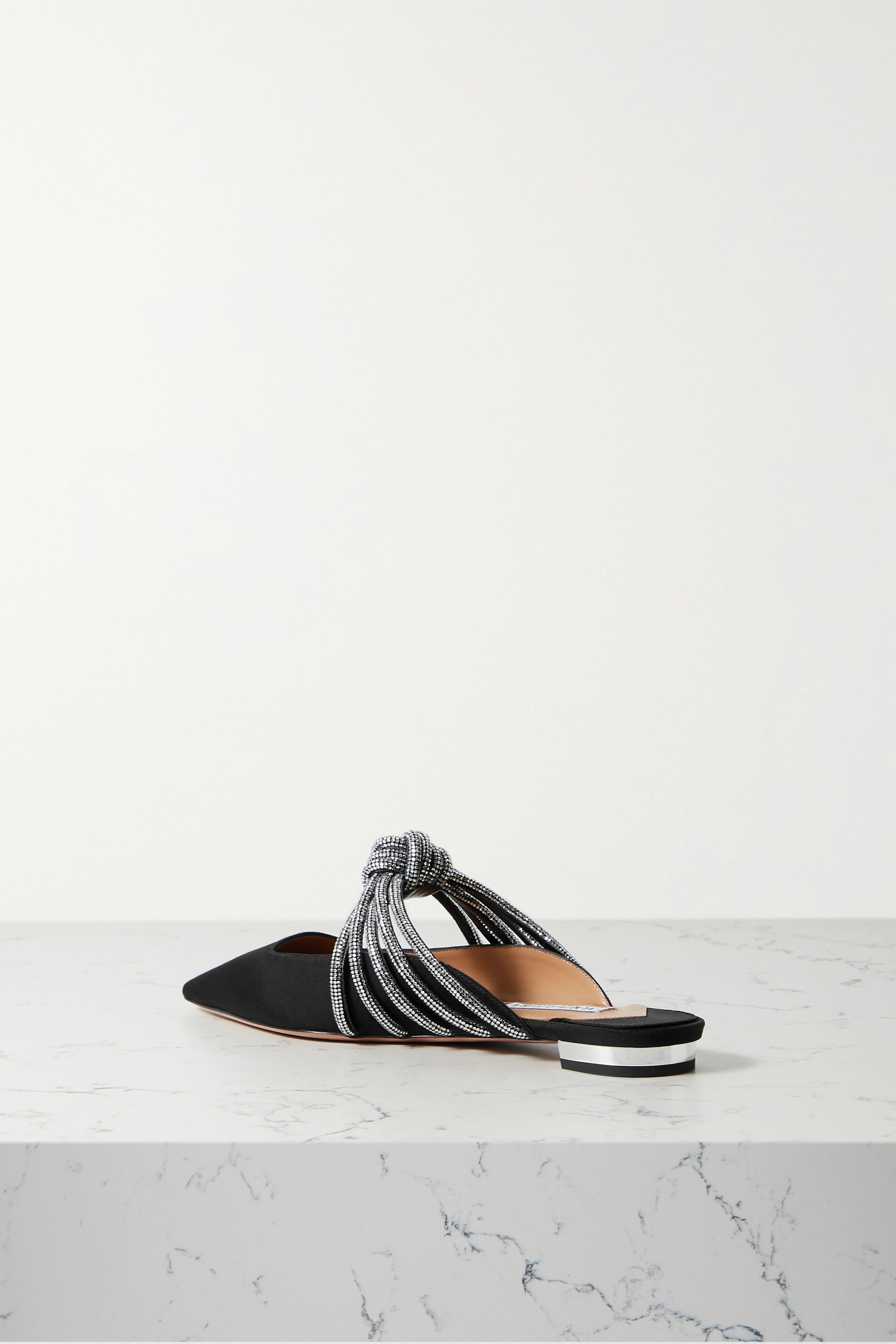AQUAZZURA Celeste crystal-embellished knotted faille mules