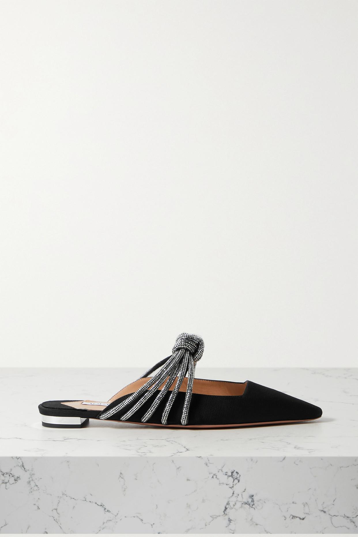 AQUAZZURA - Celeste Crystal-embellished Knotted Faille Mules - Black - IT34