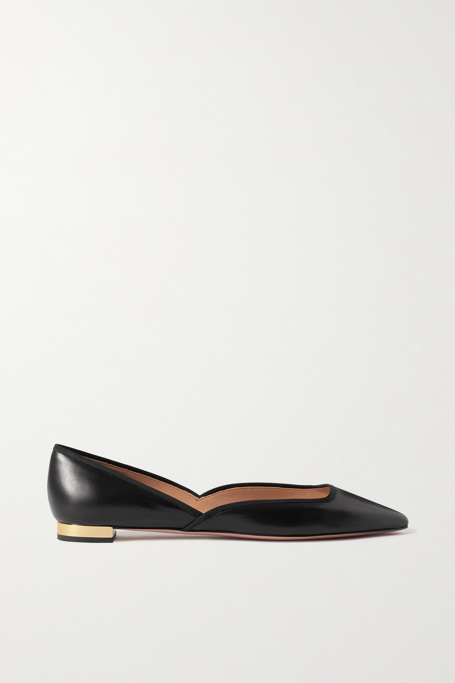 AQUAZZURA Maia grosgrain-trimmed leather ballet flats