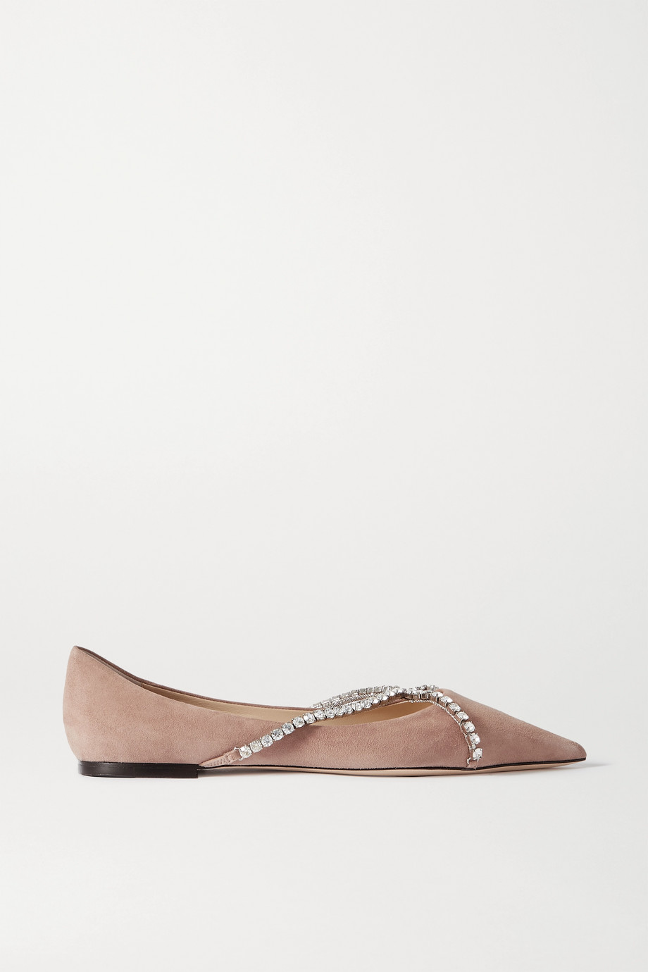 JIMMY CHOO Genevi crystal-embellished suede point-toe flats