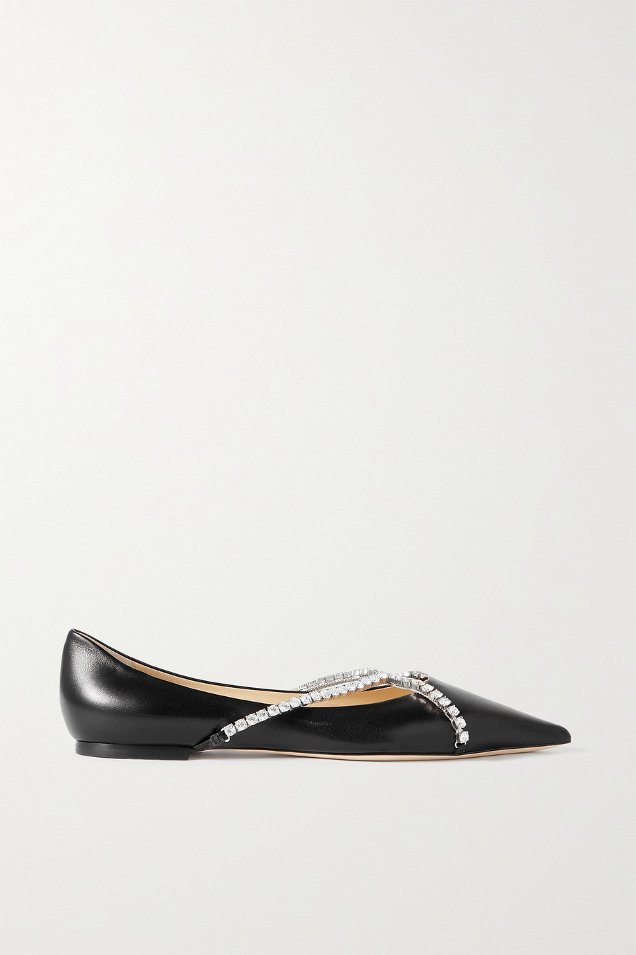 JIMMY CHOO Genevi crystal-embellished leather point-toe flats
