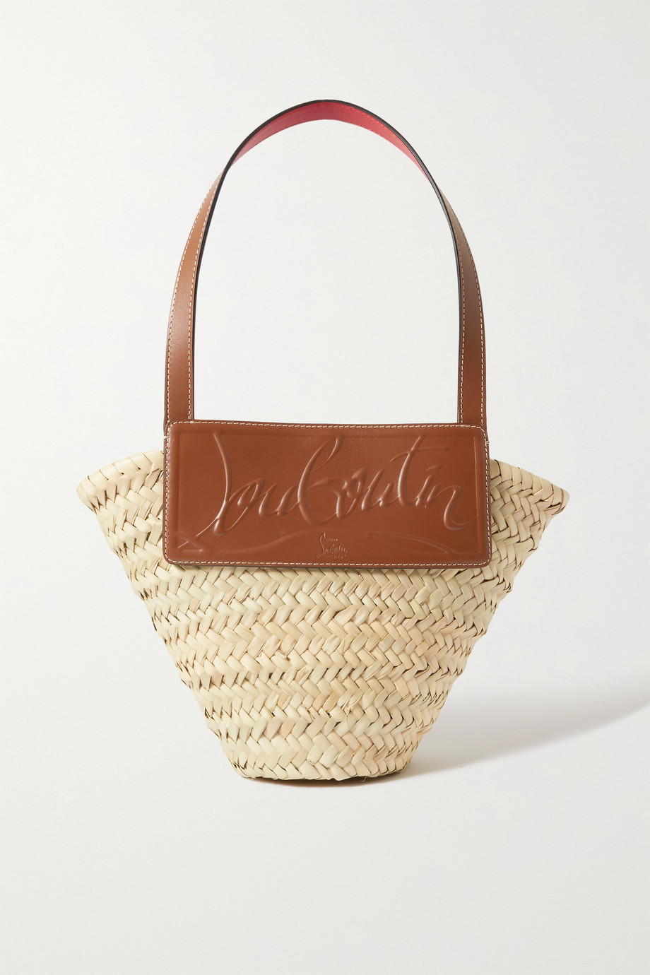 Christian Louboutin Loubishore small woven straw and embossed leather tote,Beige
