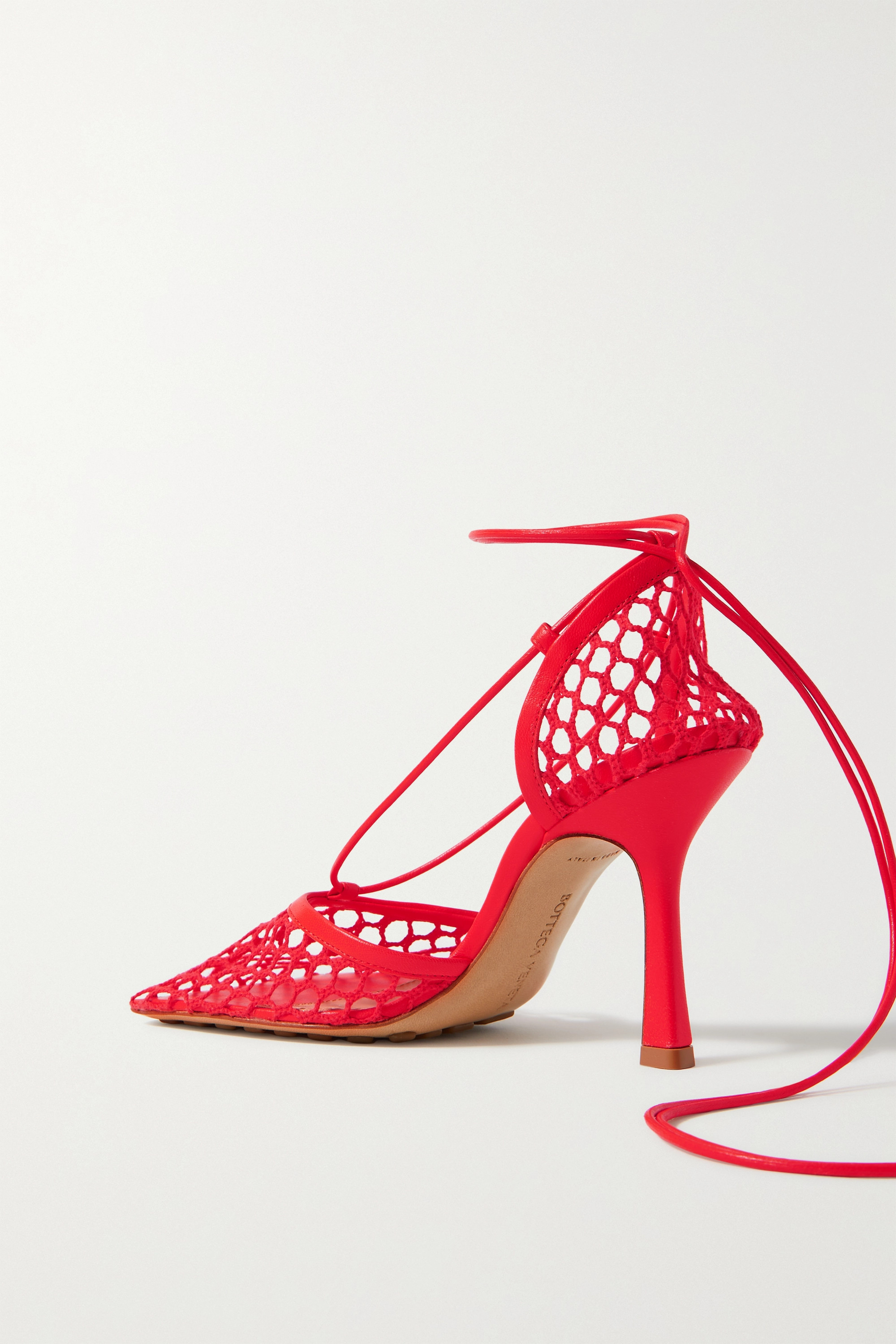 BOTTEGA VENETA Lace-up leather-trimmed mesh pumps