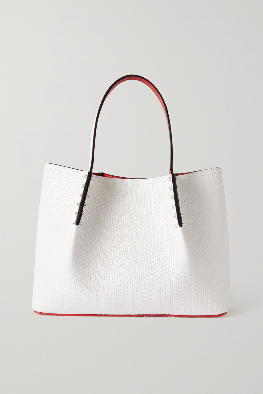CHRISTIAN LOUBOUTIN Cabarock spiked lizard-effect leather tote