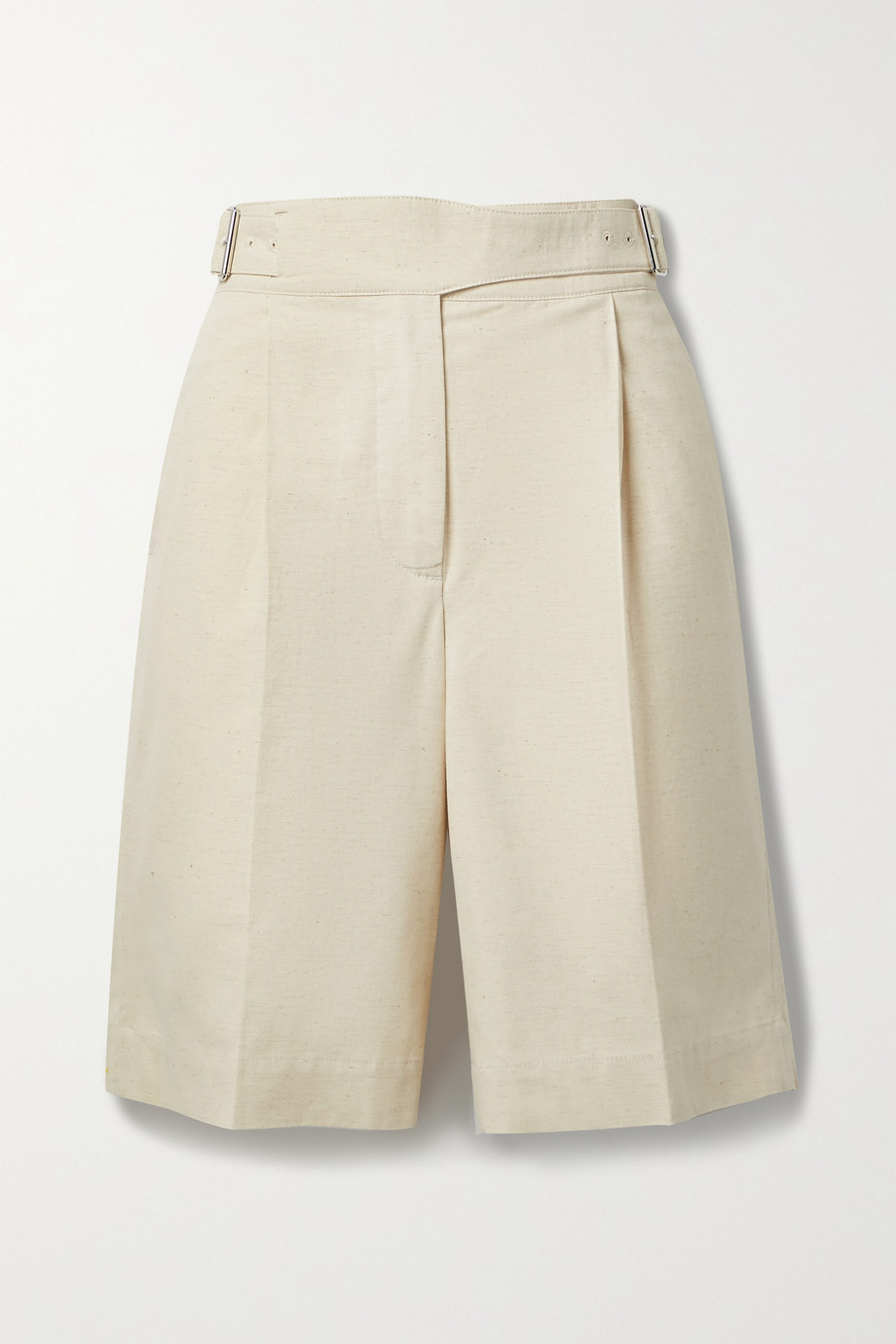 ACNE STUDIOS Pleated cotton and linen-blend canvas shorts