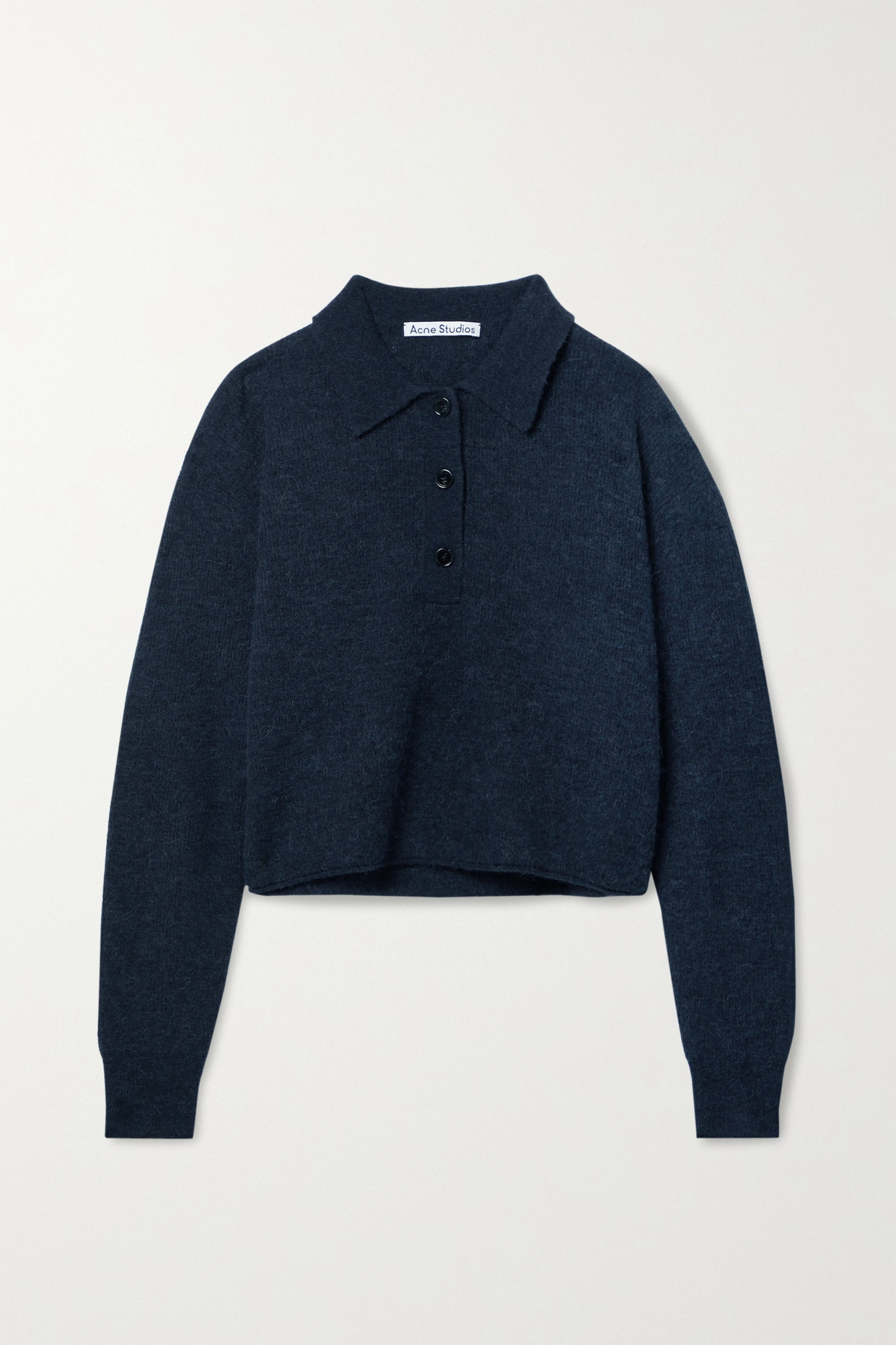 ACNE STUDIOS - Cropped Knitted Sweater - Gray - x small