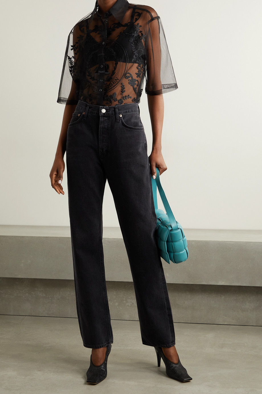 ACNE STUDIOS Embroidered tulle shirt