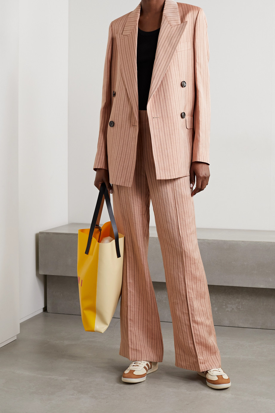 ACNE STUDIOS Double-breasted pinstriped linen-blend twill blazer