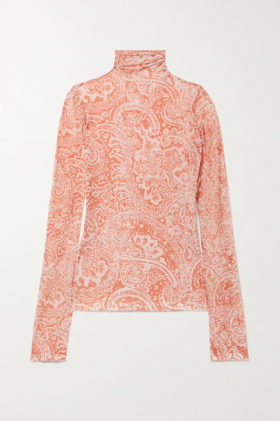 ACNE STUDIOS Paisley-print stretch-crepe turtleneck top
