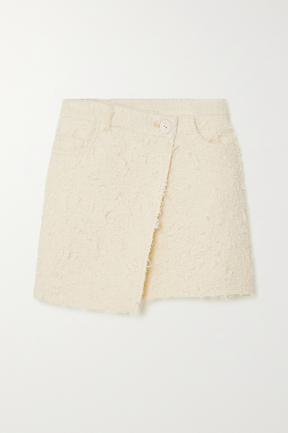 ACNE STUDIOS Asymmetric wrap-effect bouclé-tweed mini skirt