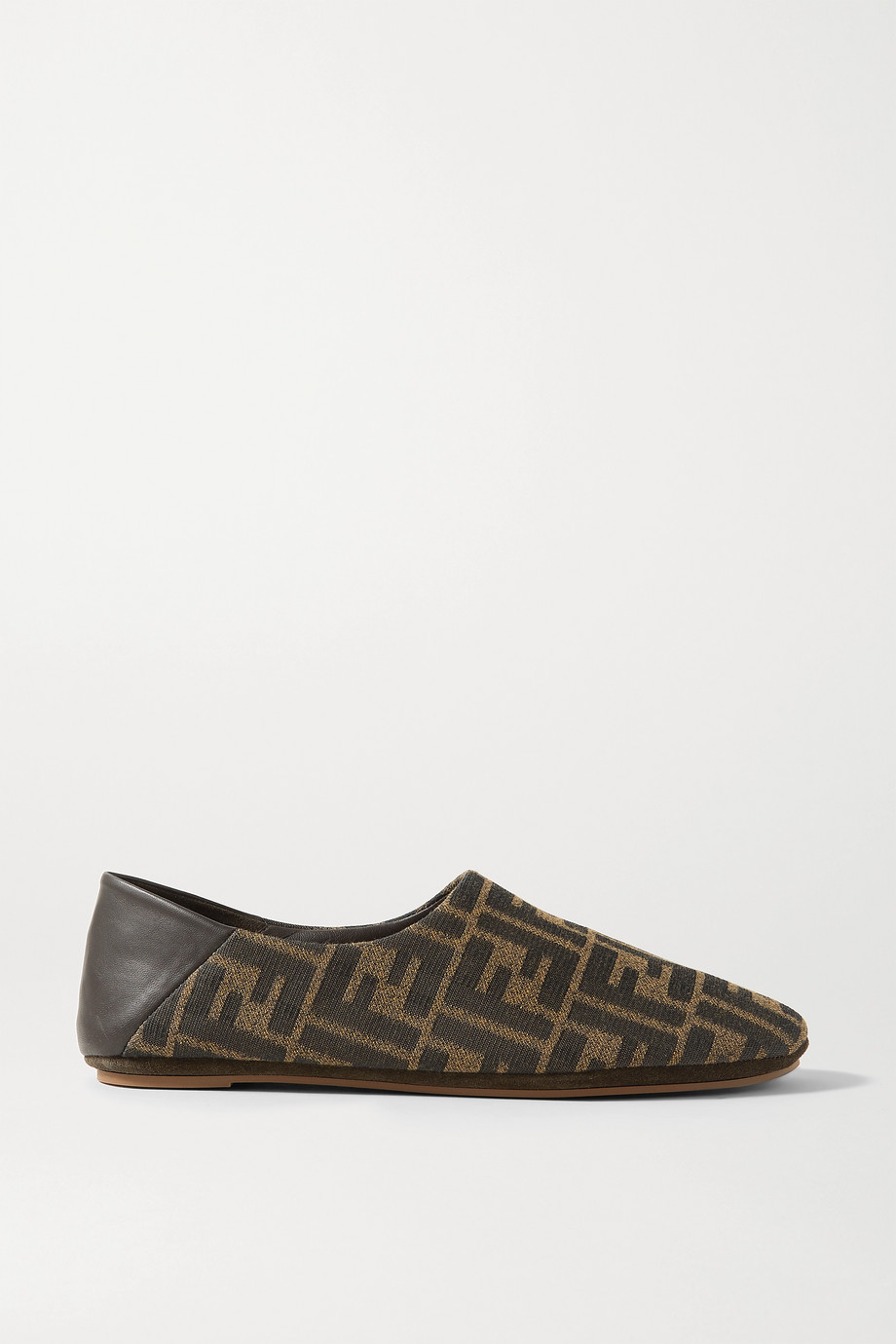 FENDI Leather-trimmed canvas collapsible-heel slippers