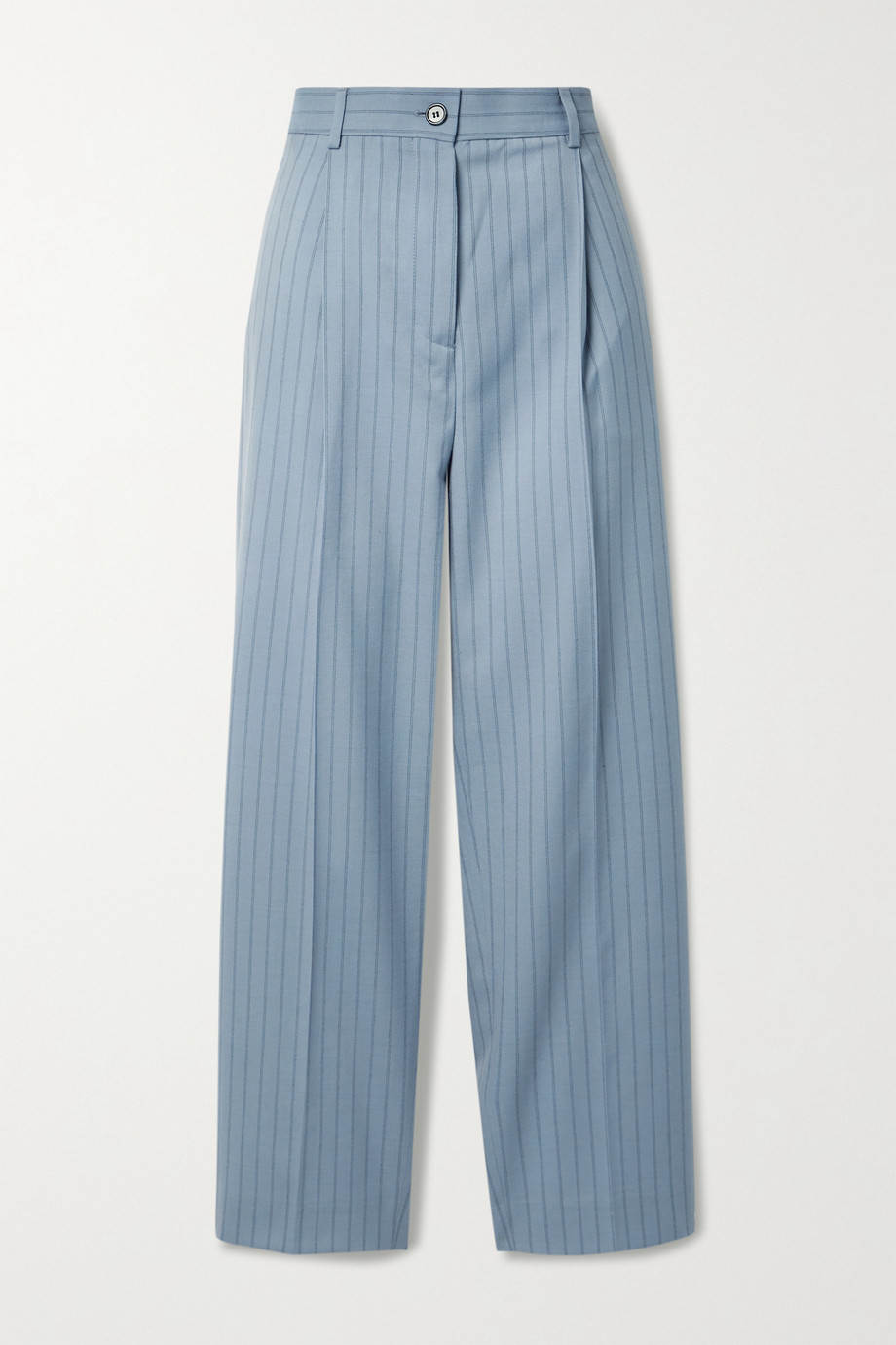 ACNE STUDIOS Pleated pinstriped wool straight-leg pants