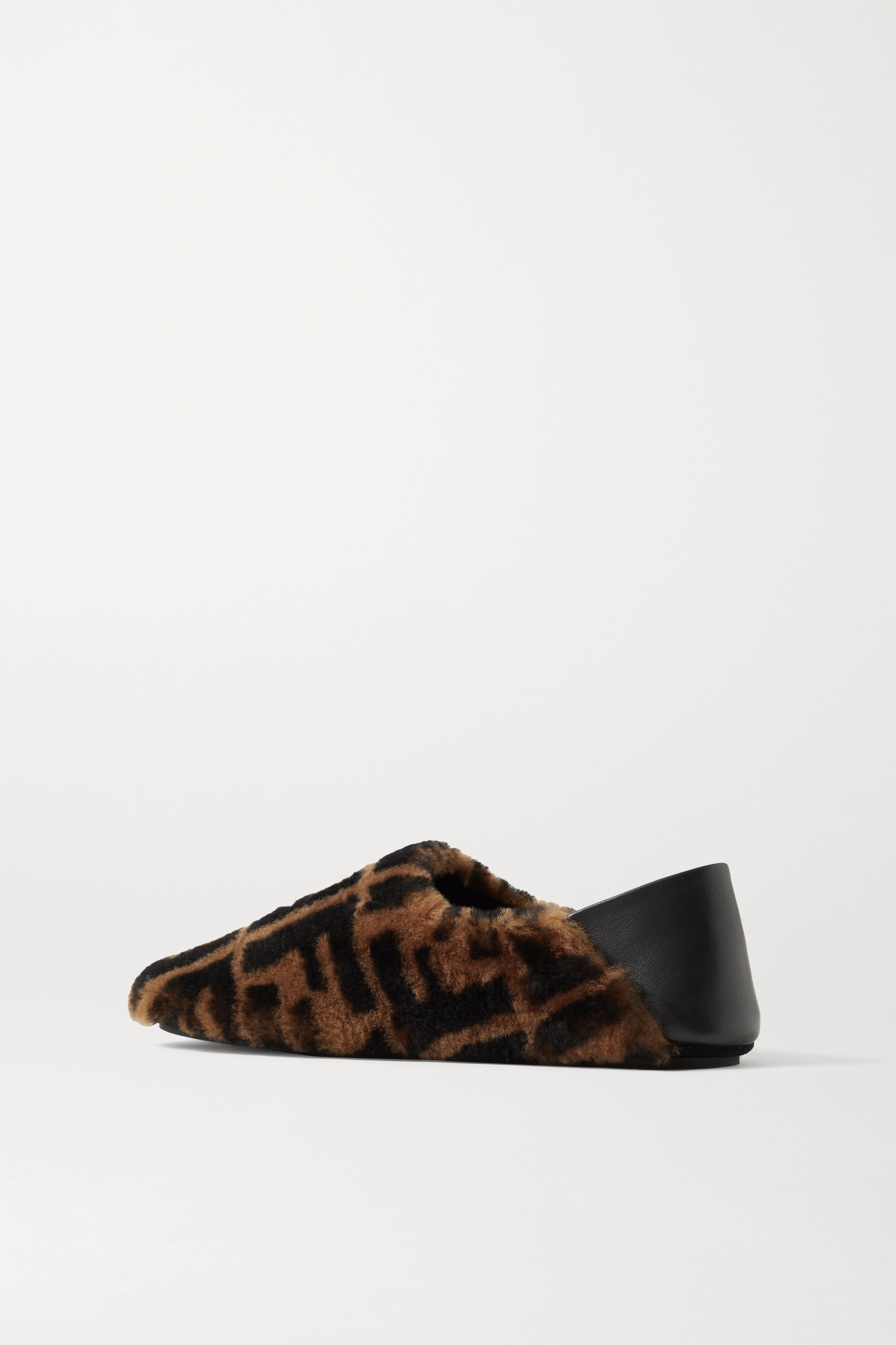 FENDI Leather-trimmed logo-print shearling collapsible-heel slippers