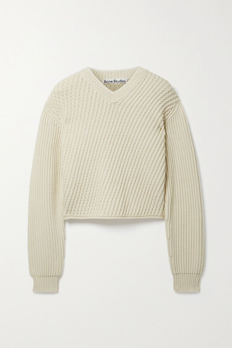 ACNE STUDIOS Cropped paneled ribbed cotton-blend sweater