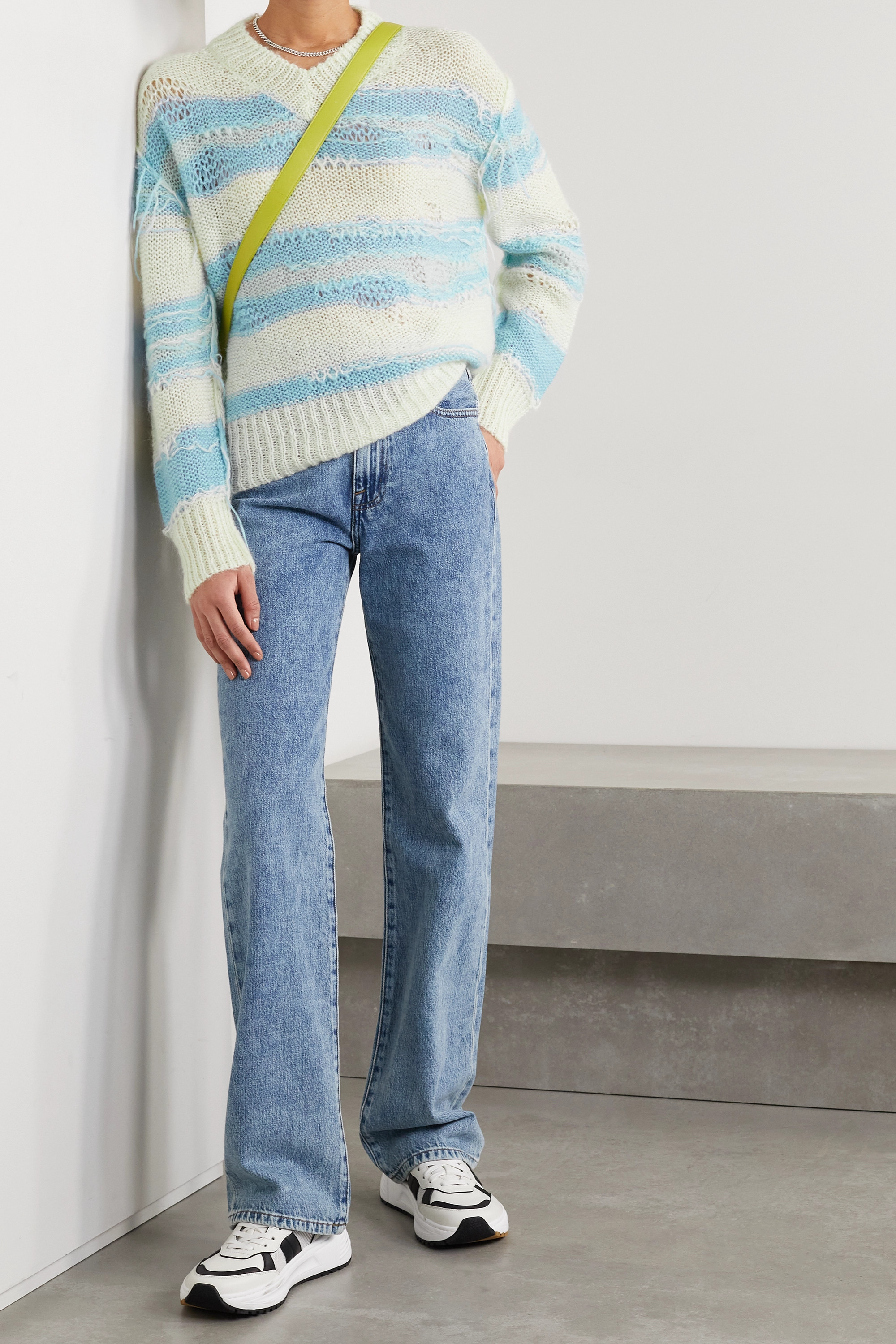 ACNE STUDIOS Distressed striped open-knit sweater