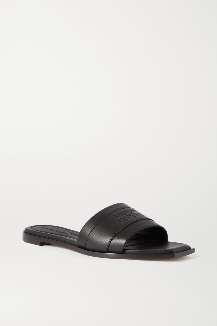 ALEXANDER MCQUEEN Logo-embossed leather slides