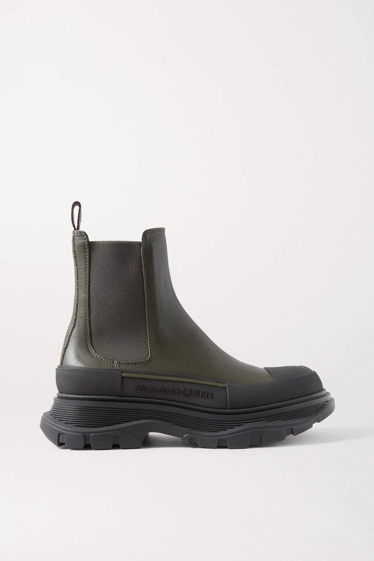 ALEXANDER MCQUEEN - 皮革厚底切尔西靴 - 绿色 - IT41