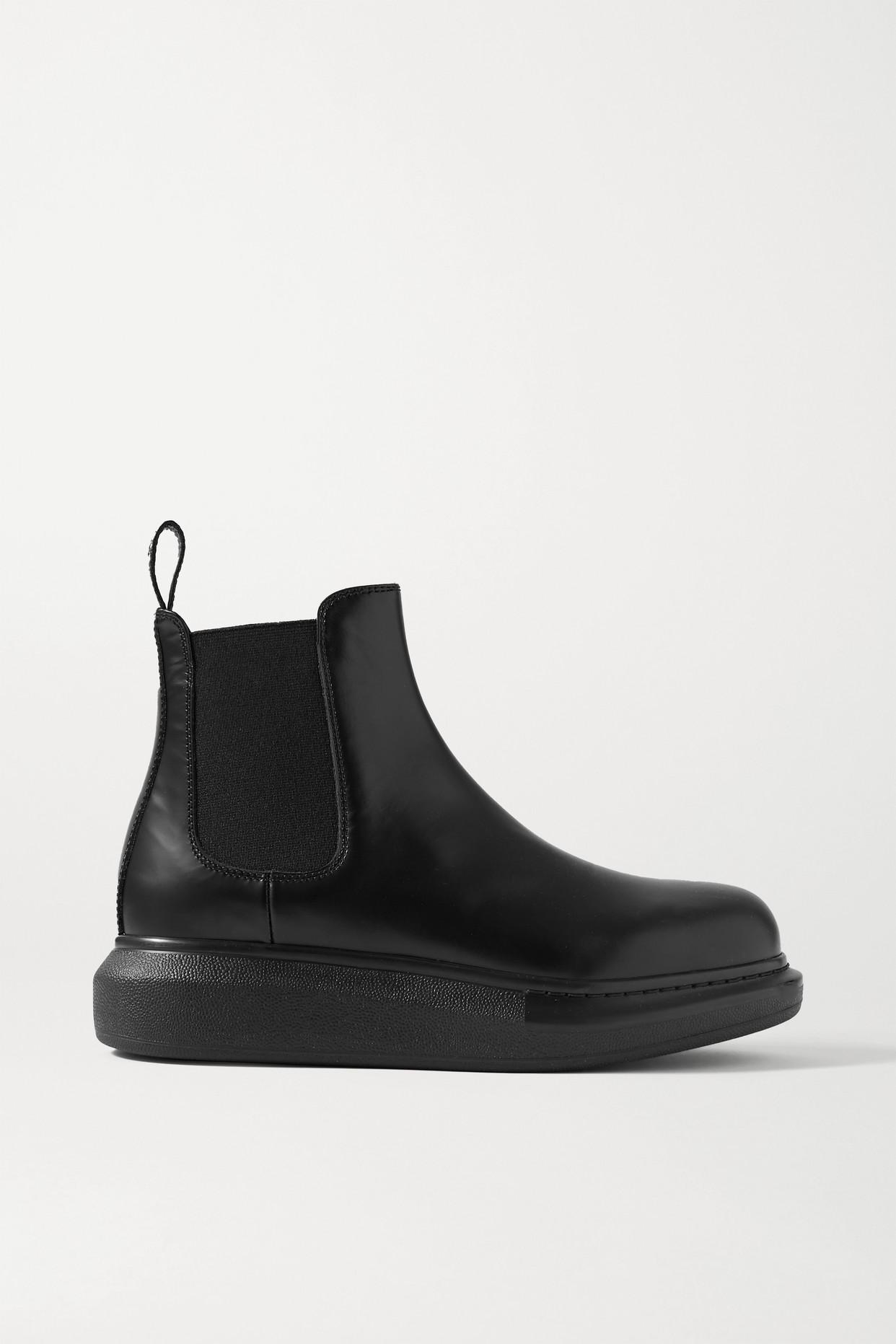 ALEXANDER MCQUEEN - 皮革厚底切尔西靴 - 黑色 - IT35