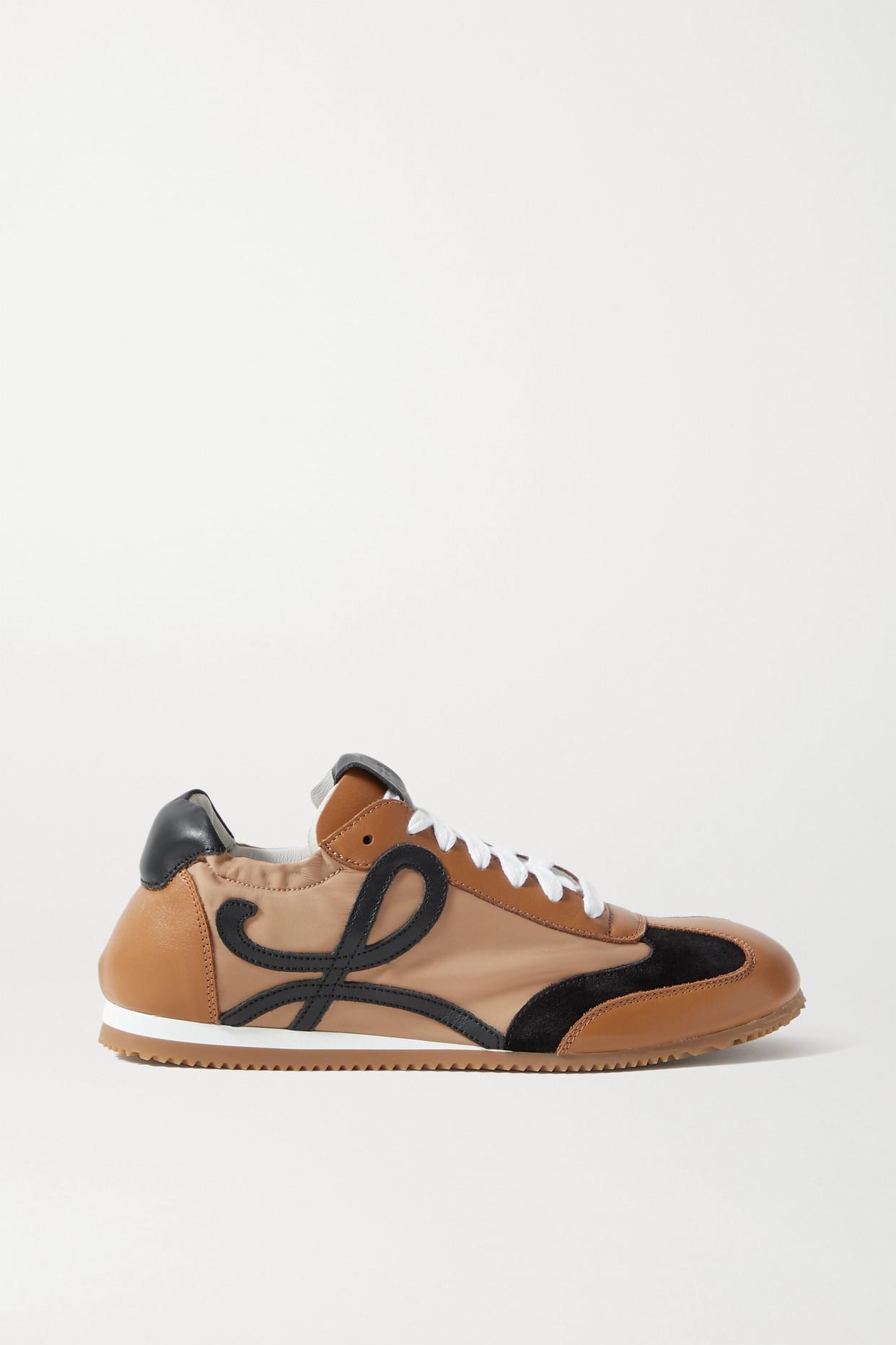 LOEWE - Ballet Runner 软壳面料绒面革皮革运动鞋 - 棕色 - IT40