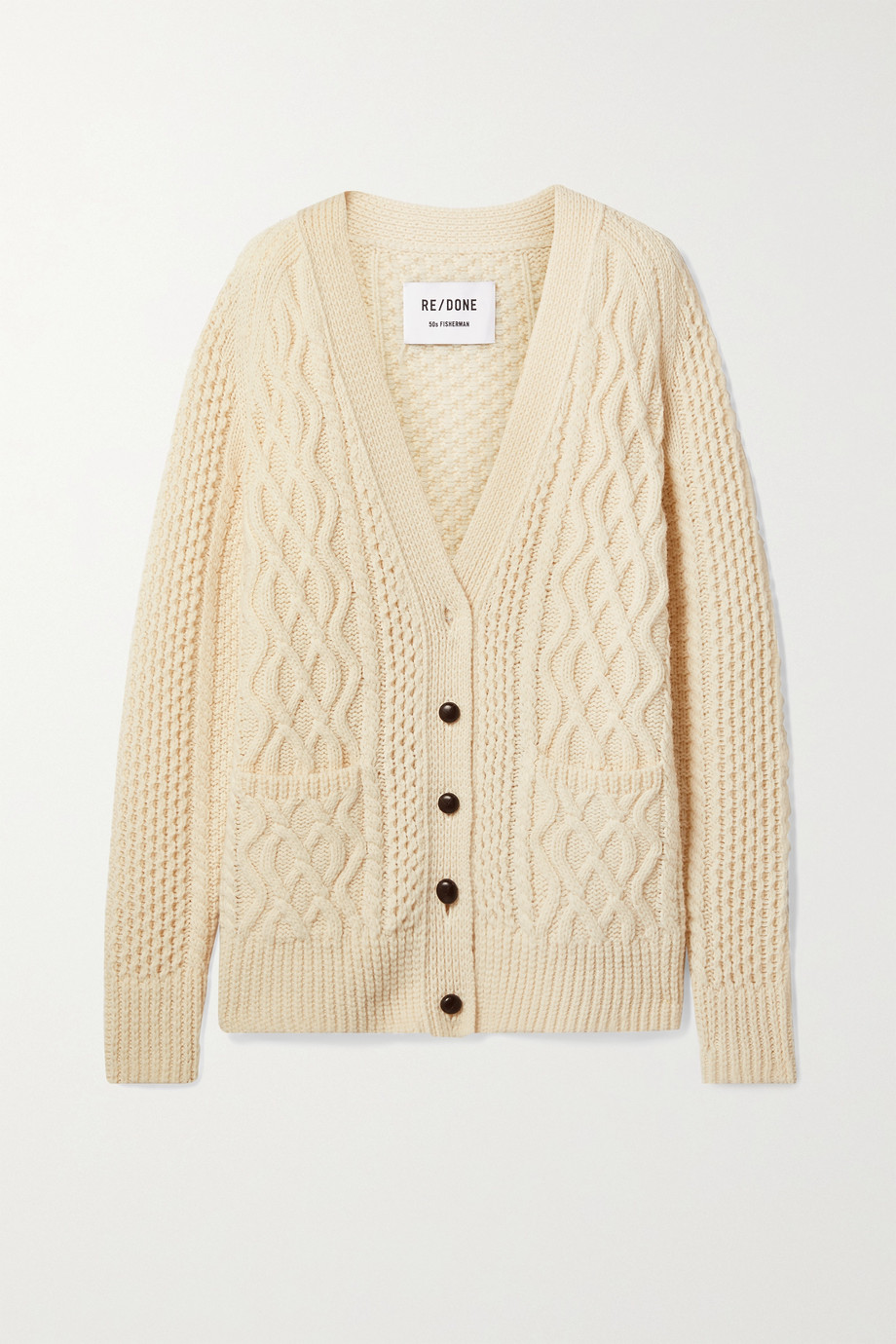 RE/DONE 50s cable-knit wool cardgian