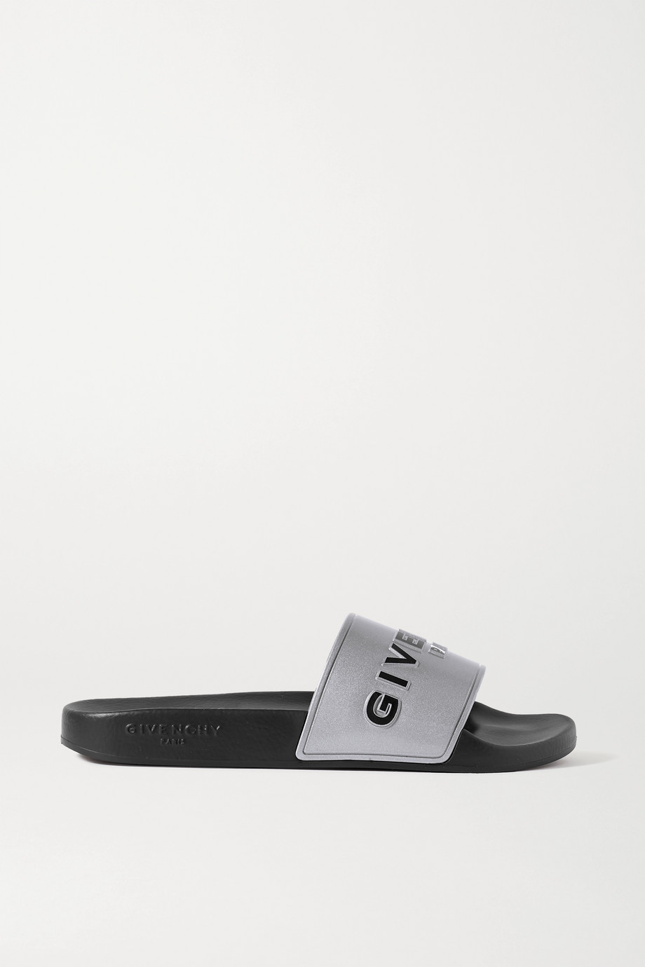 GIVENCHY Logo-print metallic rubber slides