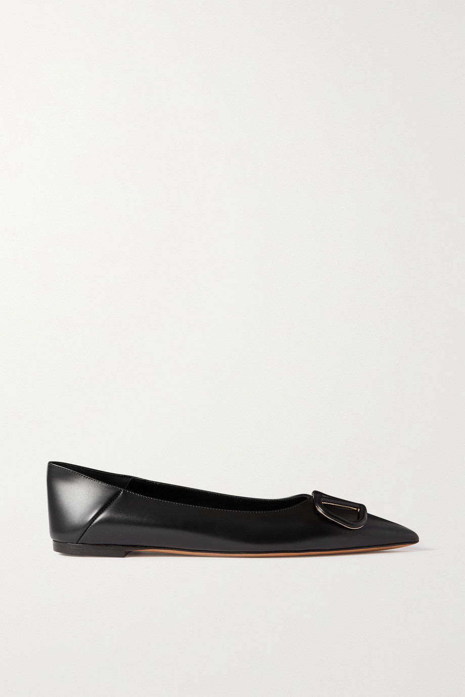 VALENTINO Go Logo leather collapsible-heel point-toe flats