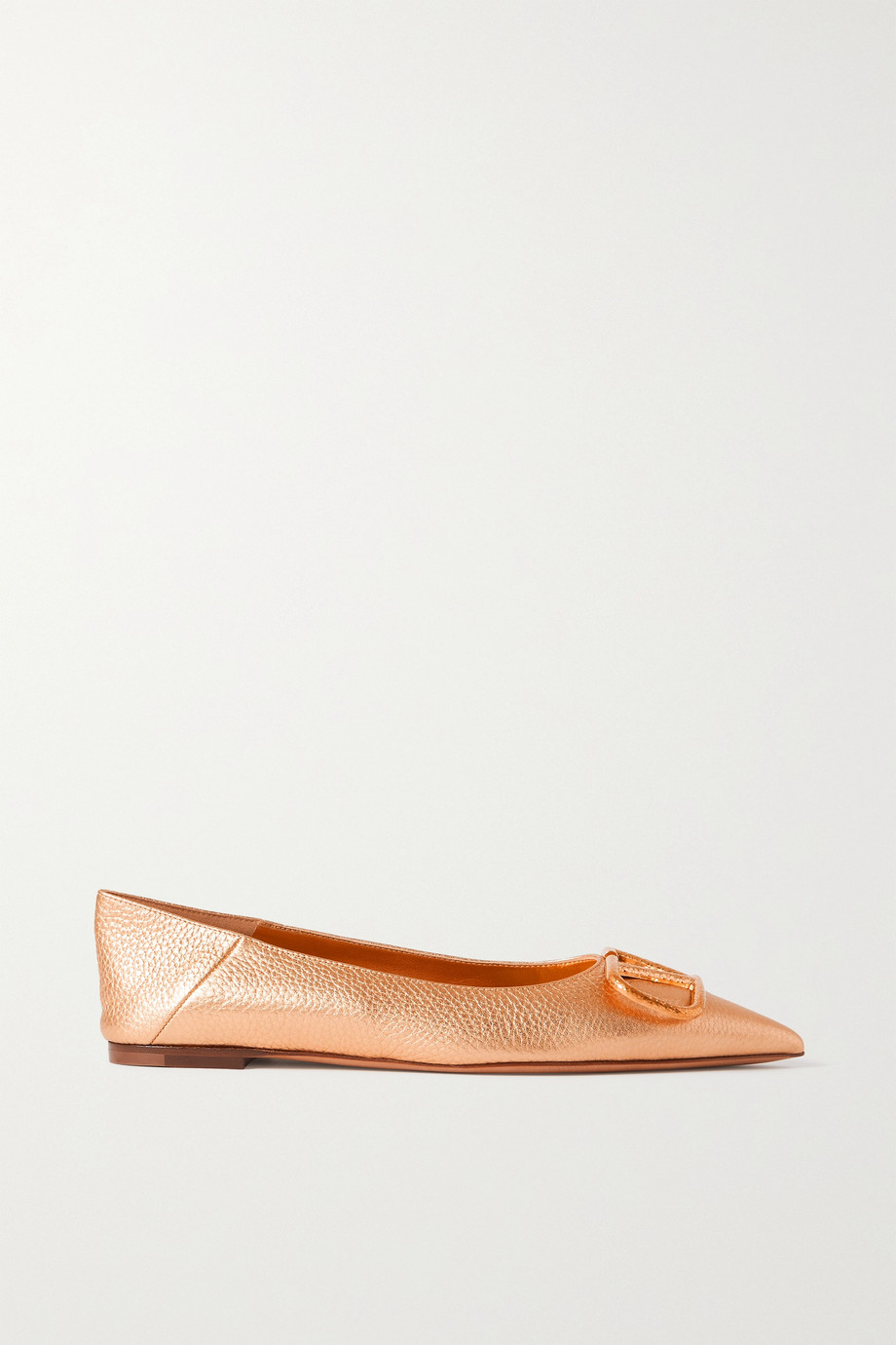 VALENTINO Go Logo metallic textured-leather collapsible-heel point-toe flats