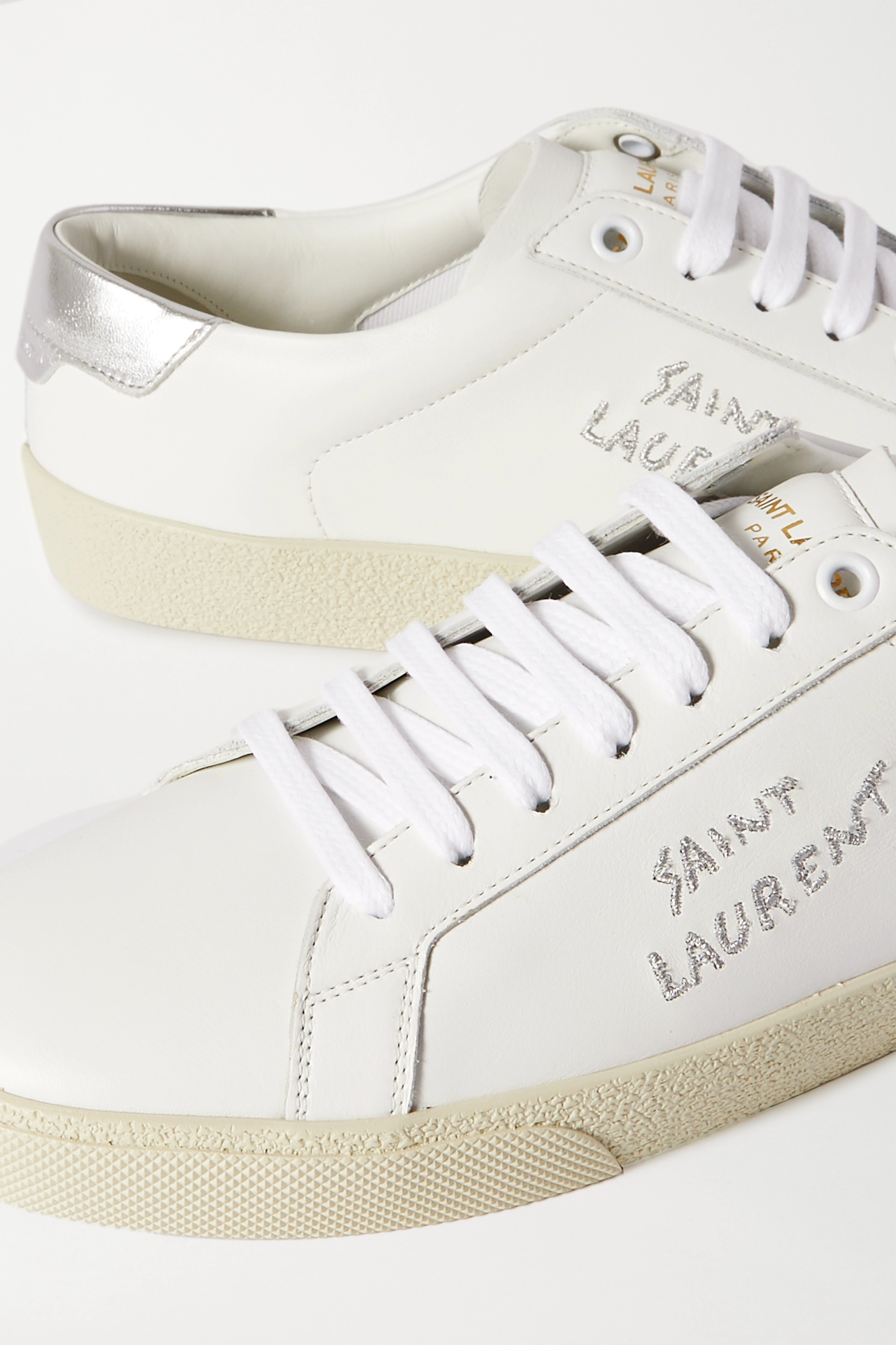 SAINT LAURENT Court Classic metallic logo-embroidered leather sneakers