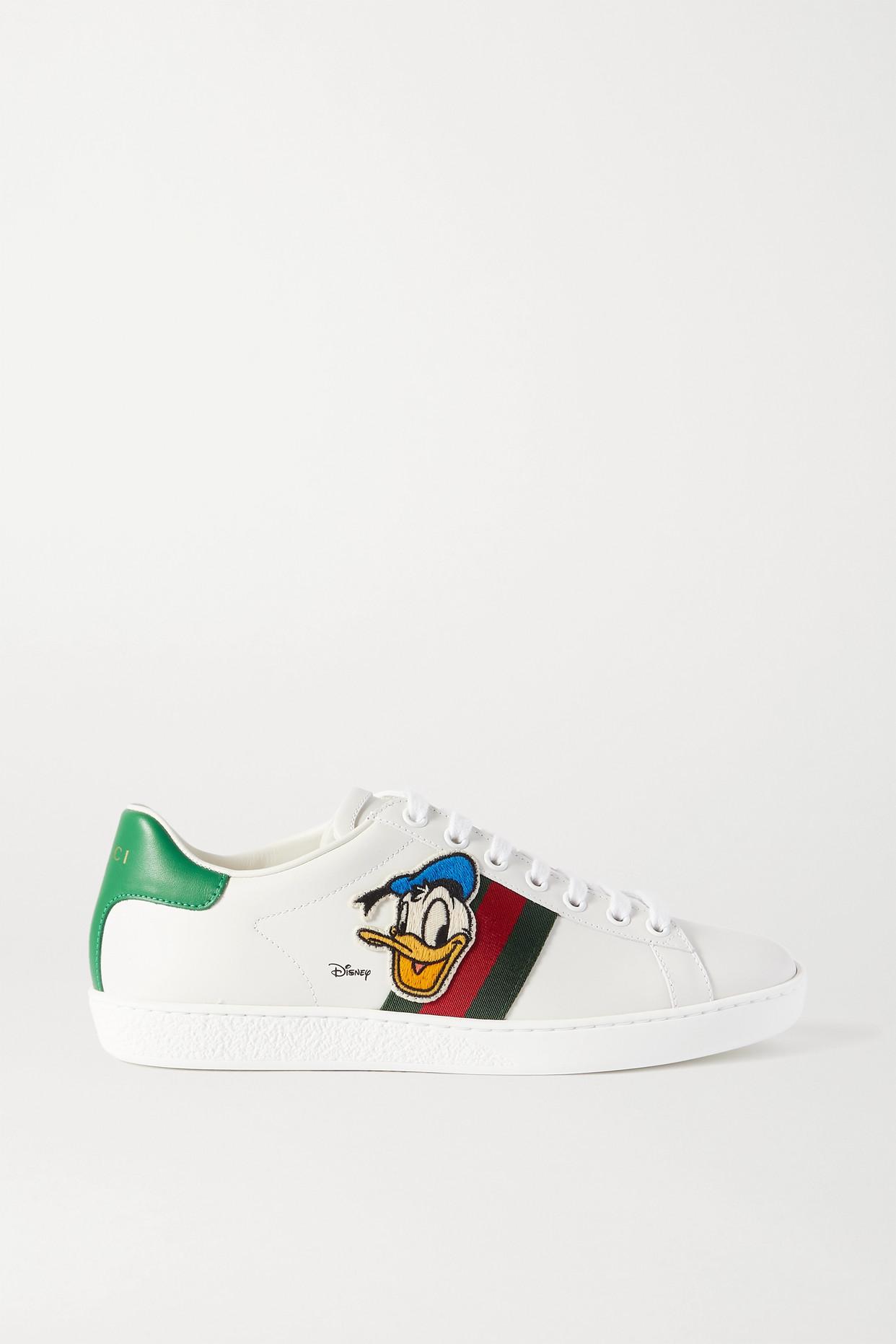 "GUCCI - X Disney ""ace"" 贴花帆布边饰皮革运动鞋 - 白色 - IT35"