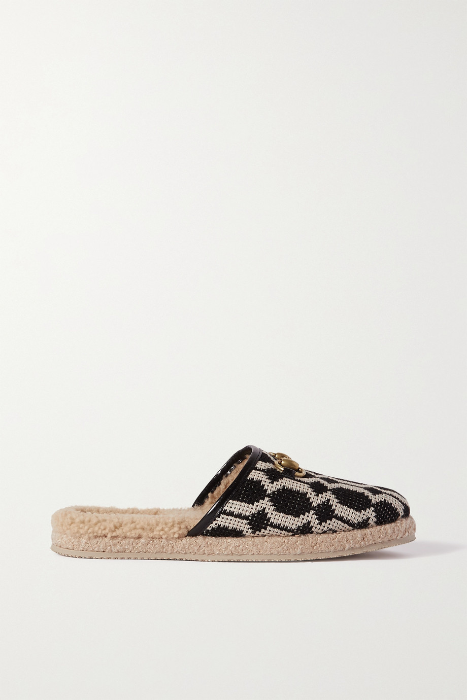 GUCCI Fria horsebit-detailed shearling-lined printed canvas slippers