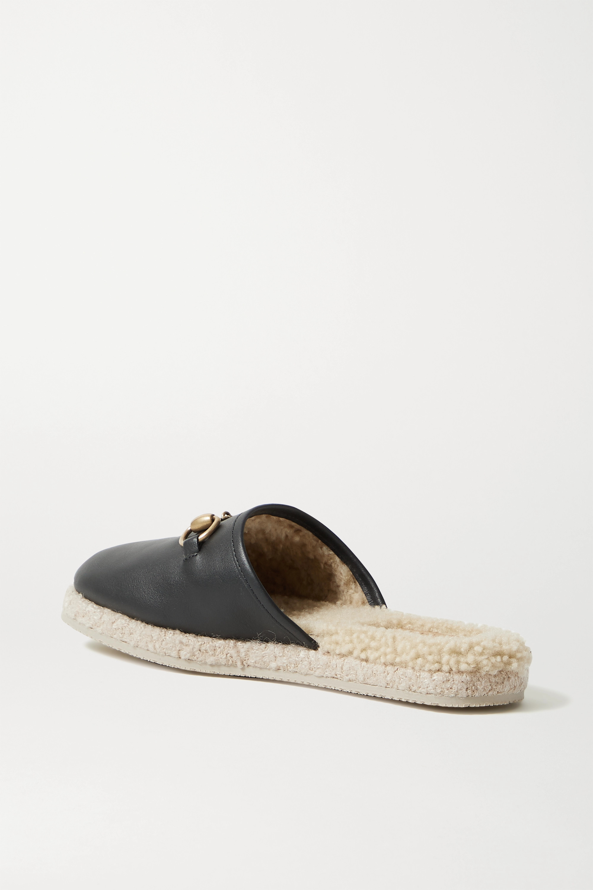 GUCCI Fria horsebit-detailed shearling-lined leather slippers