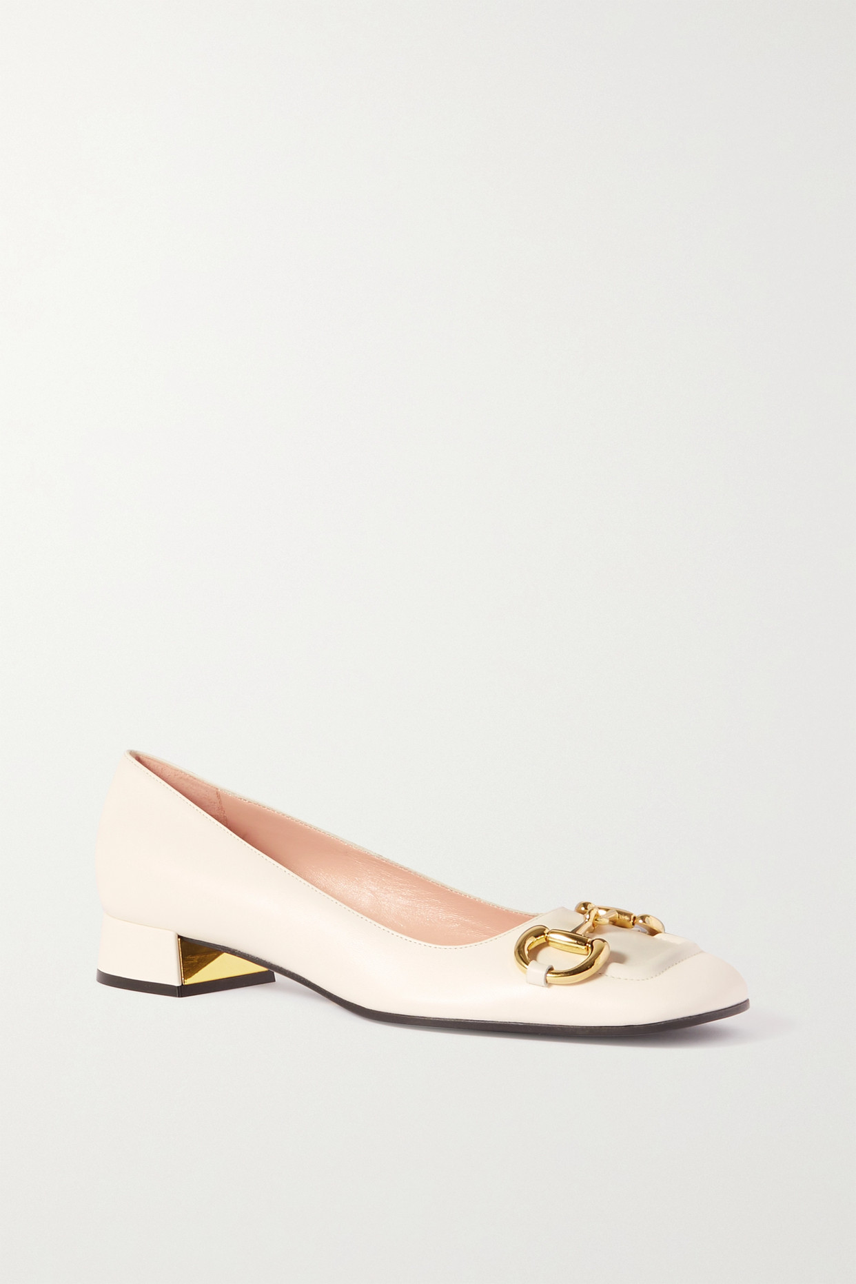 GUCCI - Baby Horsebit-detailed Leather Pumps - White - IT38.5