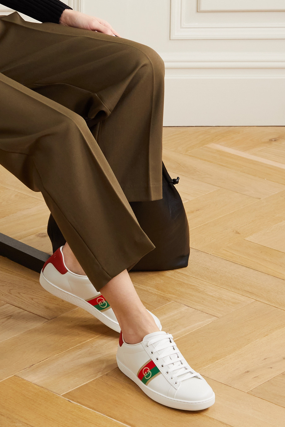 GUCCI Ace webbing-trimmed leather sneakers