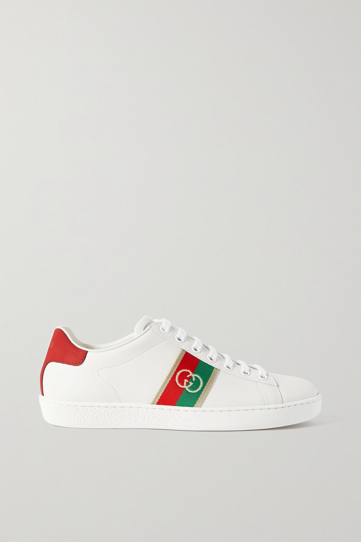 GUCCI - Ace 织带边饰皮革运动鞋 - 白色 - IT37.5