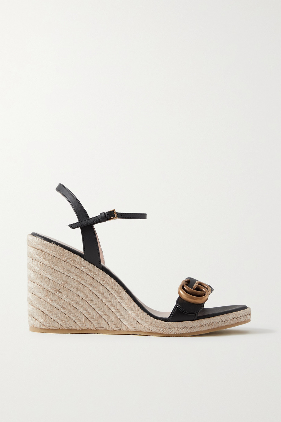 GUCCI Aitana logo-embellished leather espadrille wedge sandals