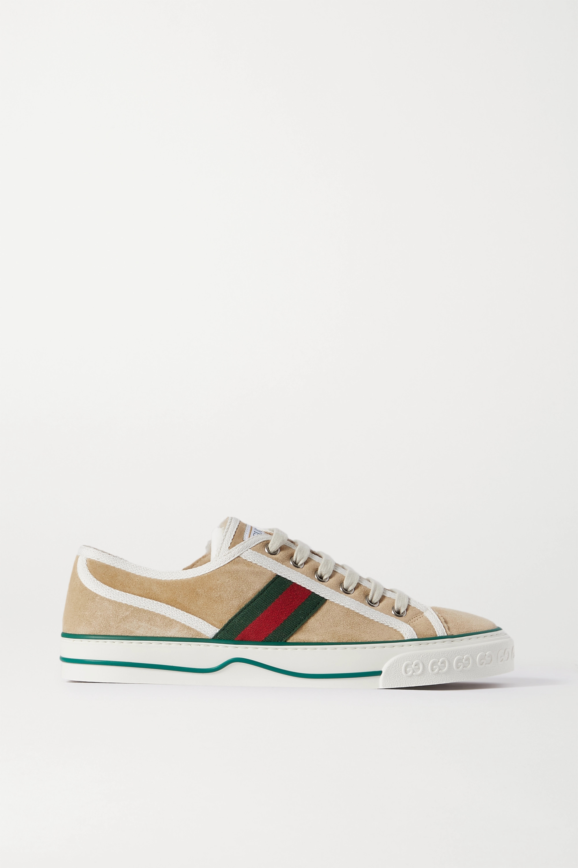 GUCCI Tennis 1977 logo-embroidered shearling-lined suede and canvas sneakers
