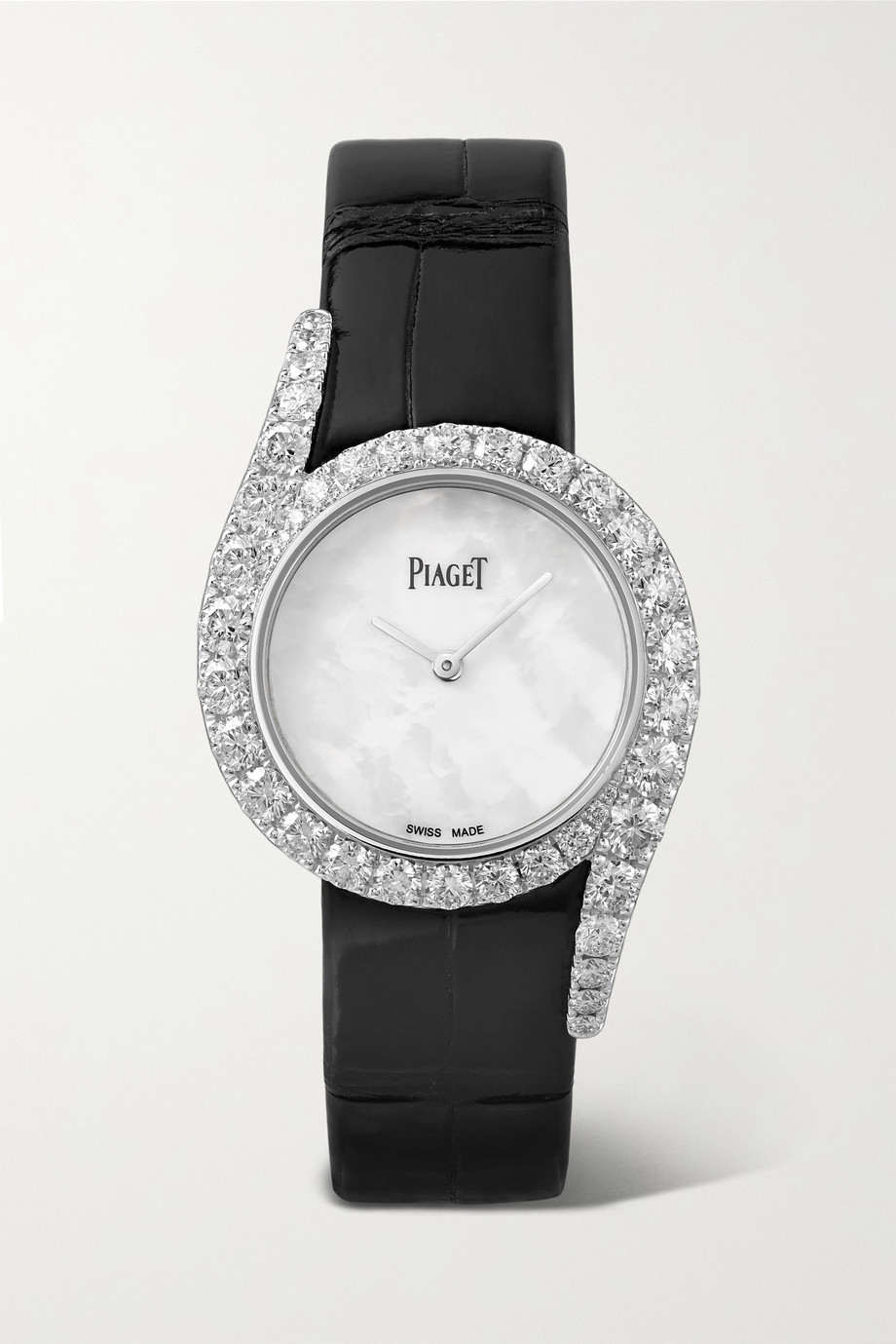 PIAGET Limelight Gala 32mm 18-karat white gold, alligator, mother-of-pearl and diamond watch