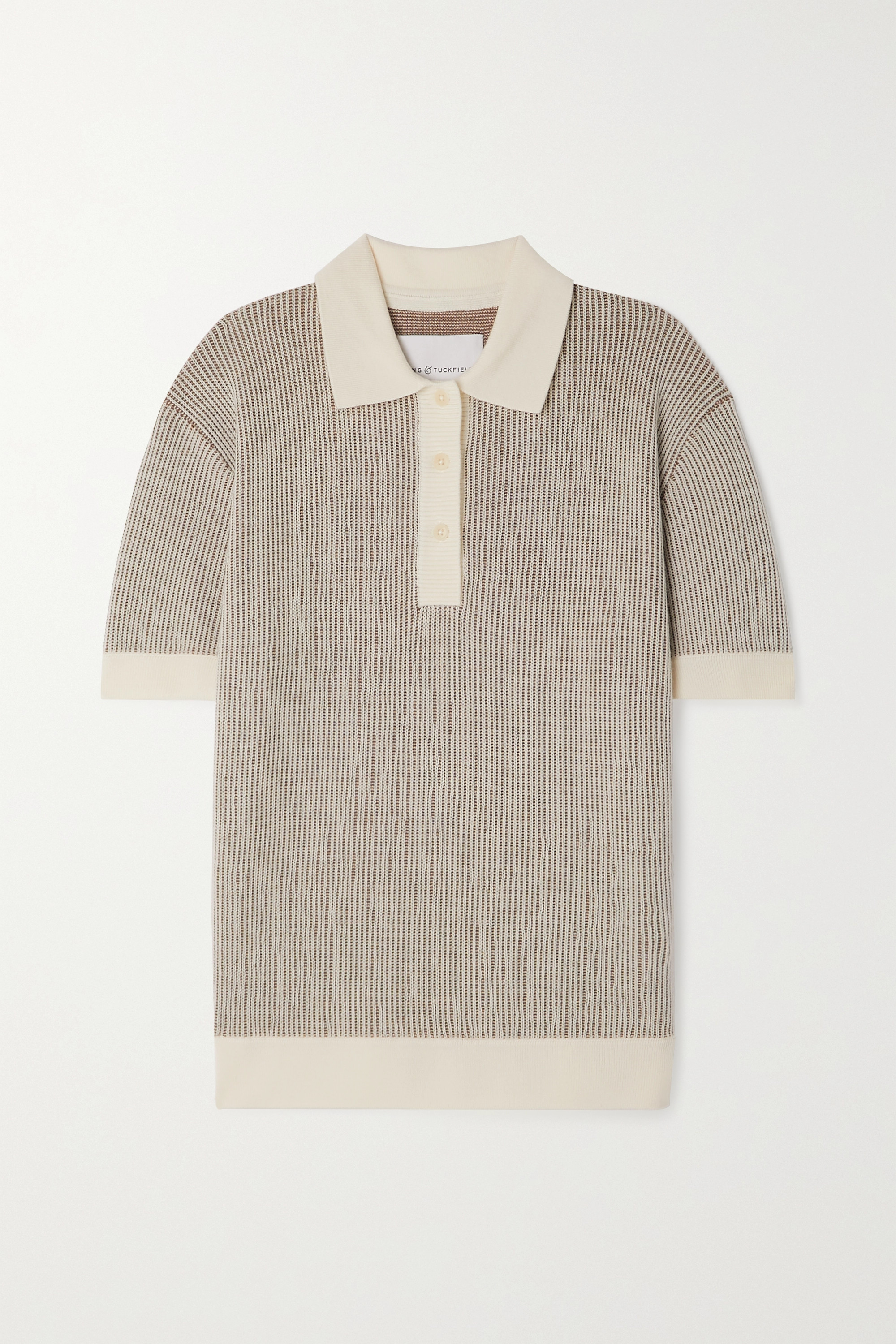 KING & TUCKFIELD Ribbed merino wool polo shirt