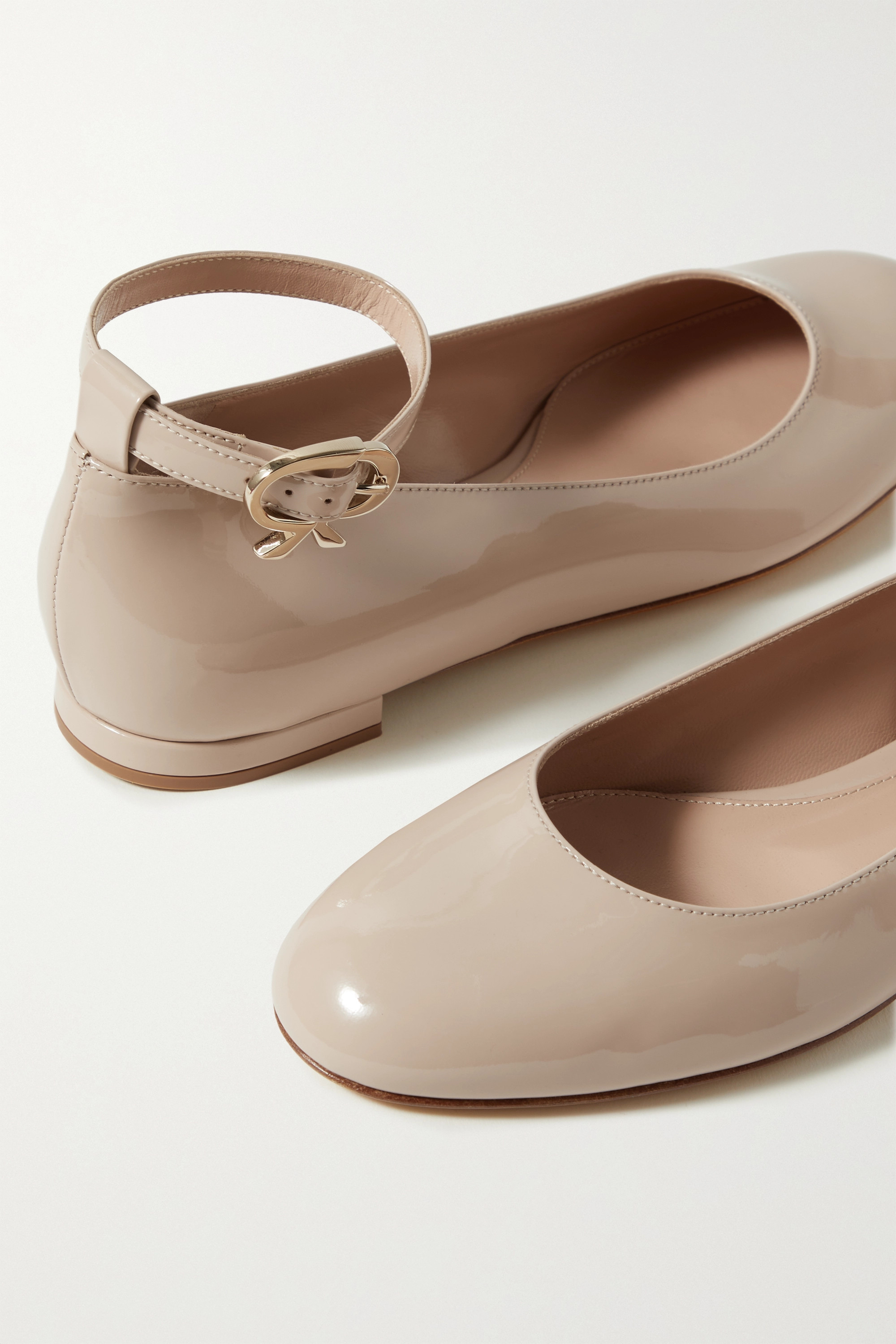 GIANVITO ROSSI Ribbon patent-leather ballet flats