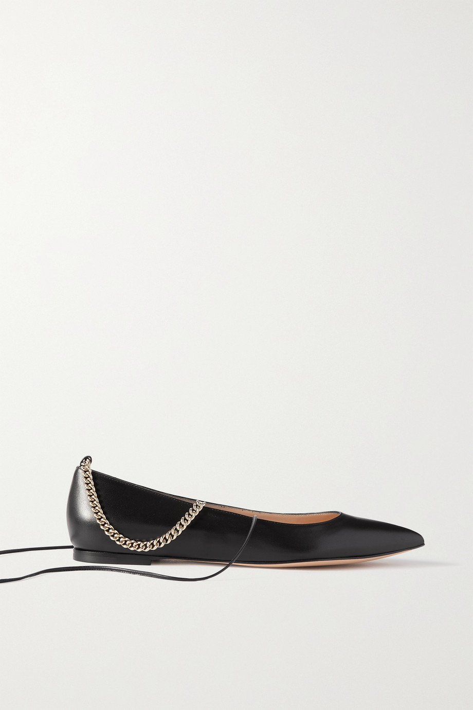 GIANVITO ROSSI Chain-embellished leather point-toe flats