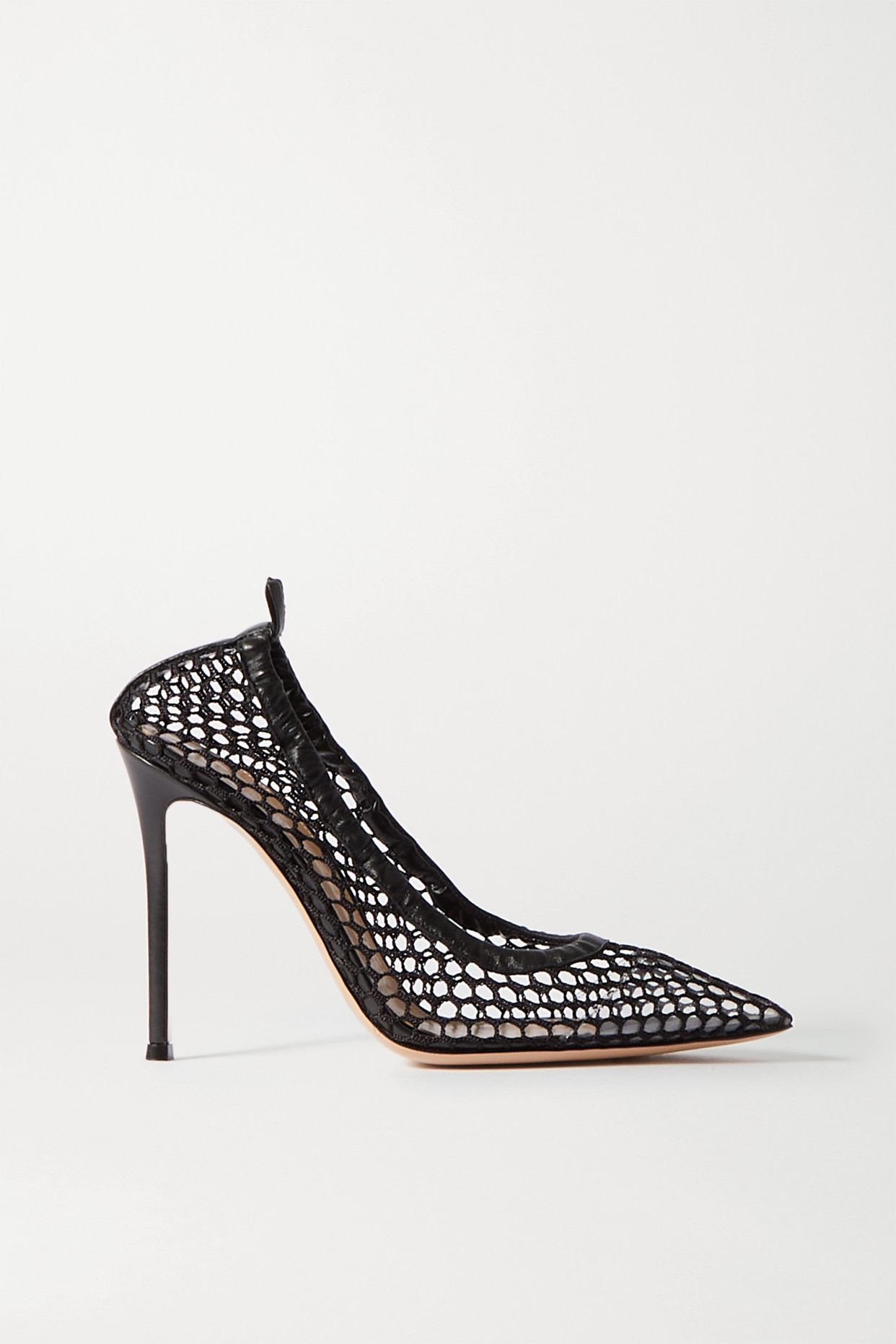 GIANVITO ROSSI - 105 Leather-trimmed Fishnet Pumps - Black - IT38
