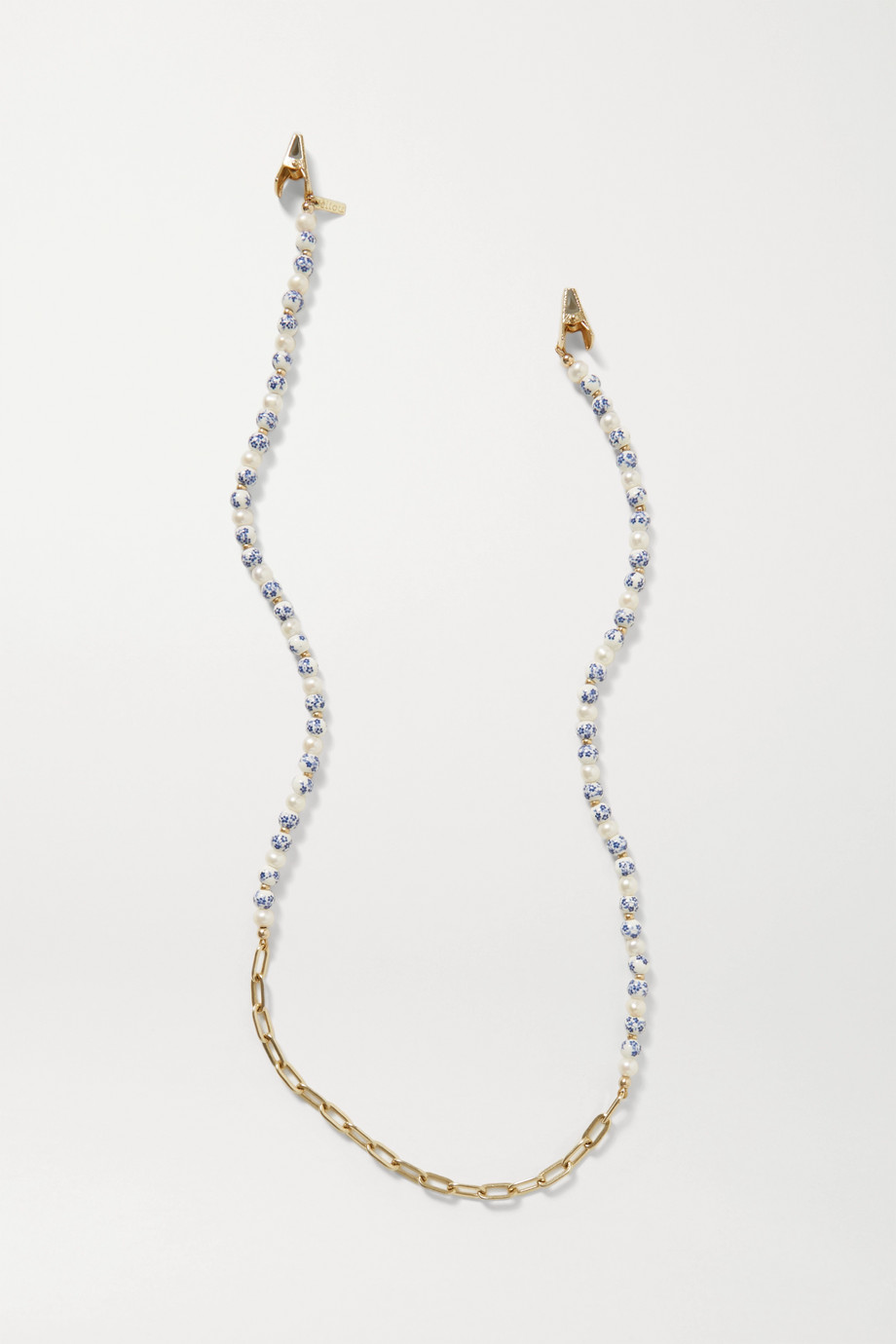 ÉLIOU Arther gold-plated, pearl and bead sunglasses chain